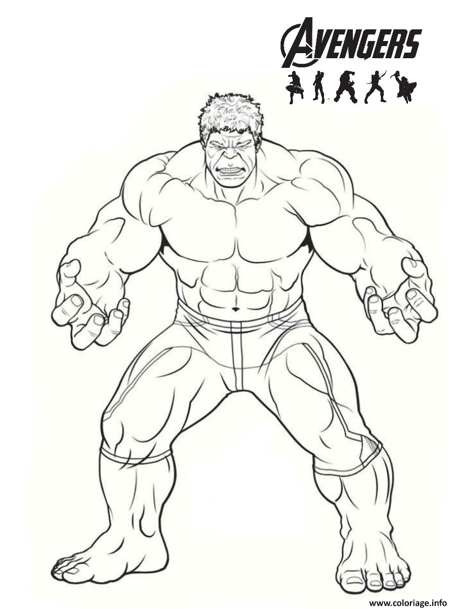 Dessin avengers endgame heros hulk Coloriage Gratuit à Imprimer