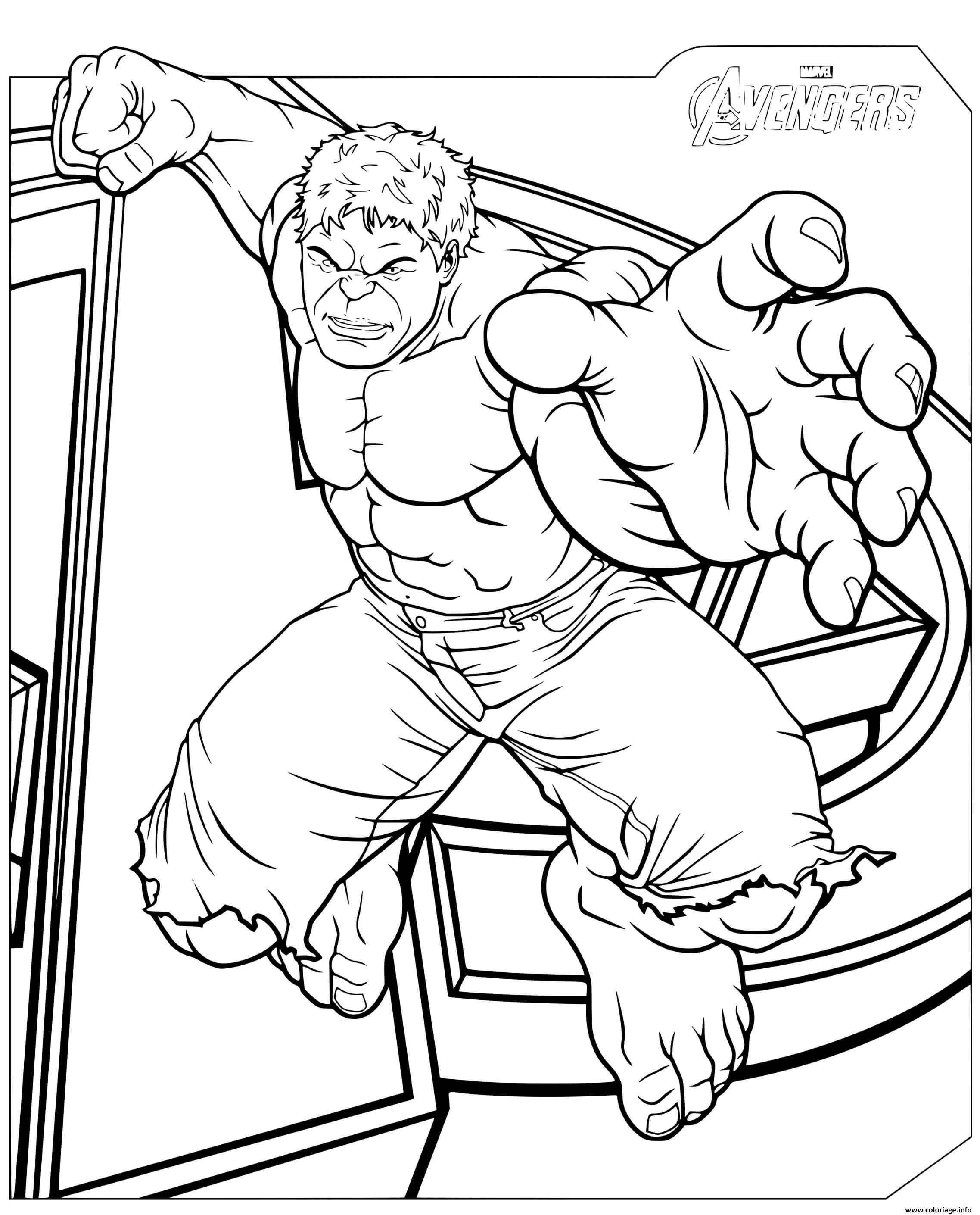 Dessin avengers marvel hulk en action Coloriage Gratuit à Imprimer