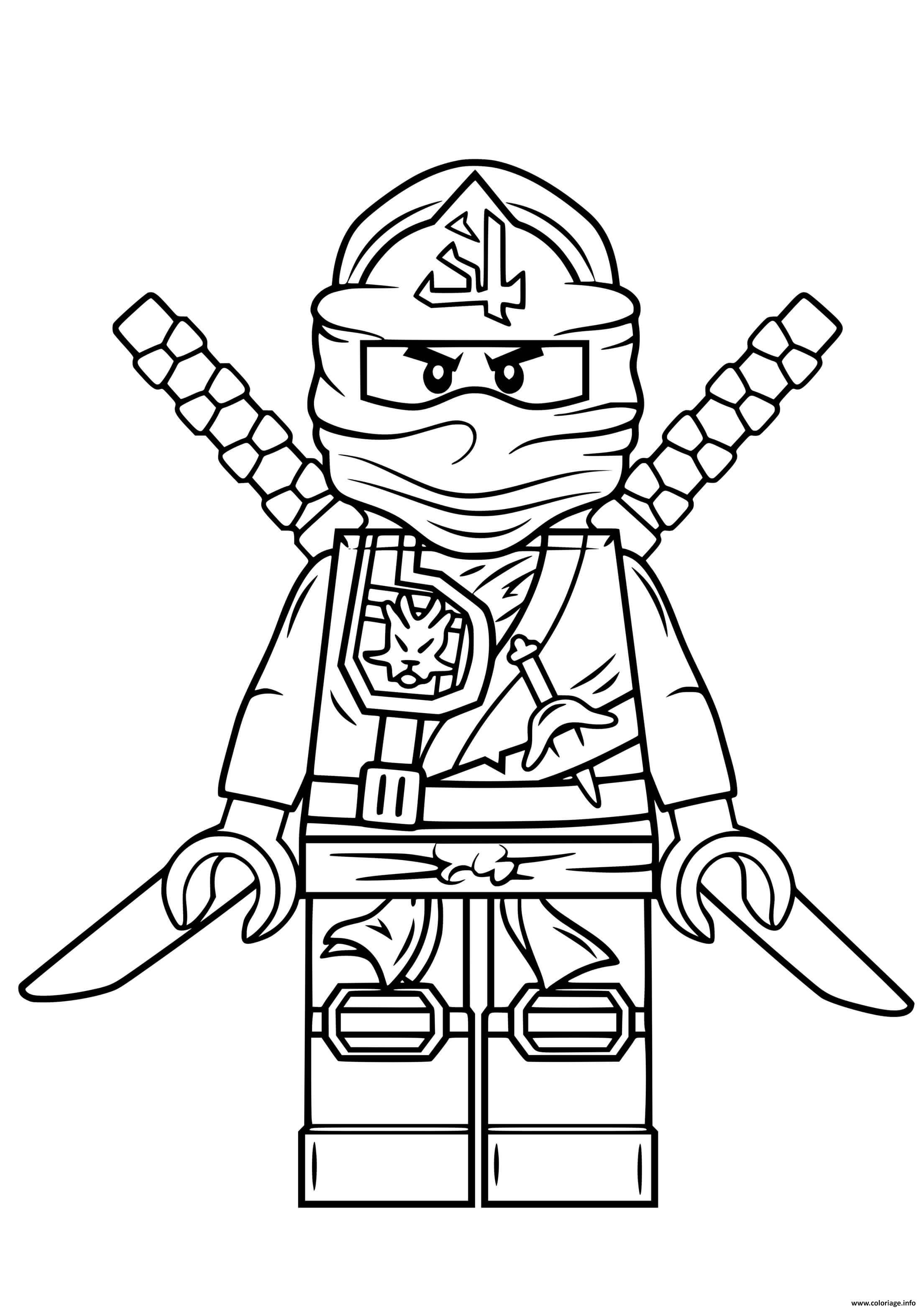 Dessin lego ninjago vert ninja Coloriage Gratuit à Imprimer