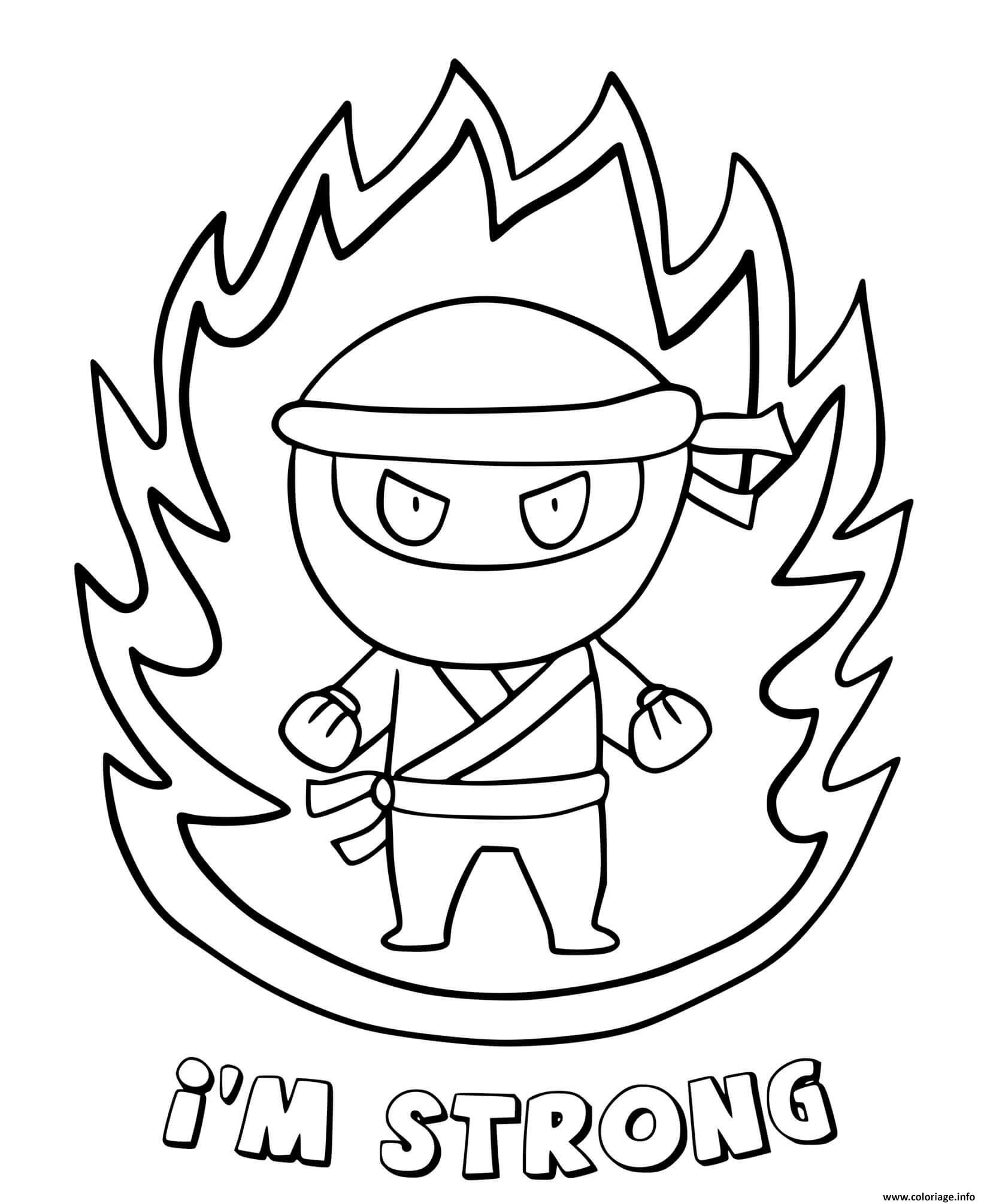 Dessin ninja en feu je suis fort Coloriage Gratuit à Imprimer