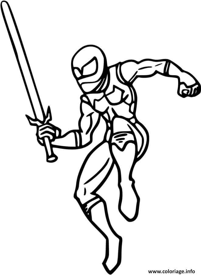 Dessin ninja avec un epee Coloriage Gratuit à Imprimer