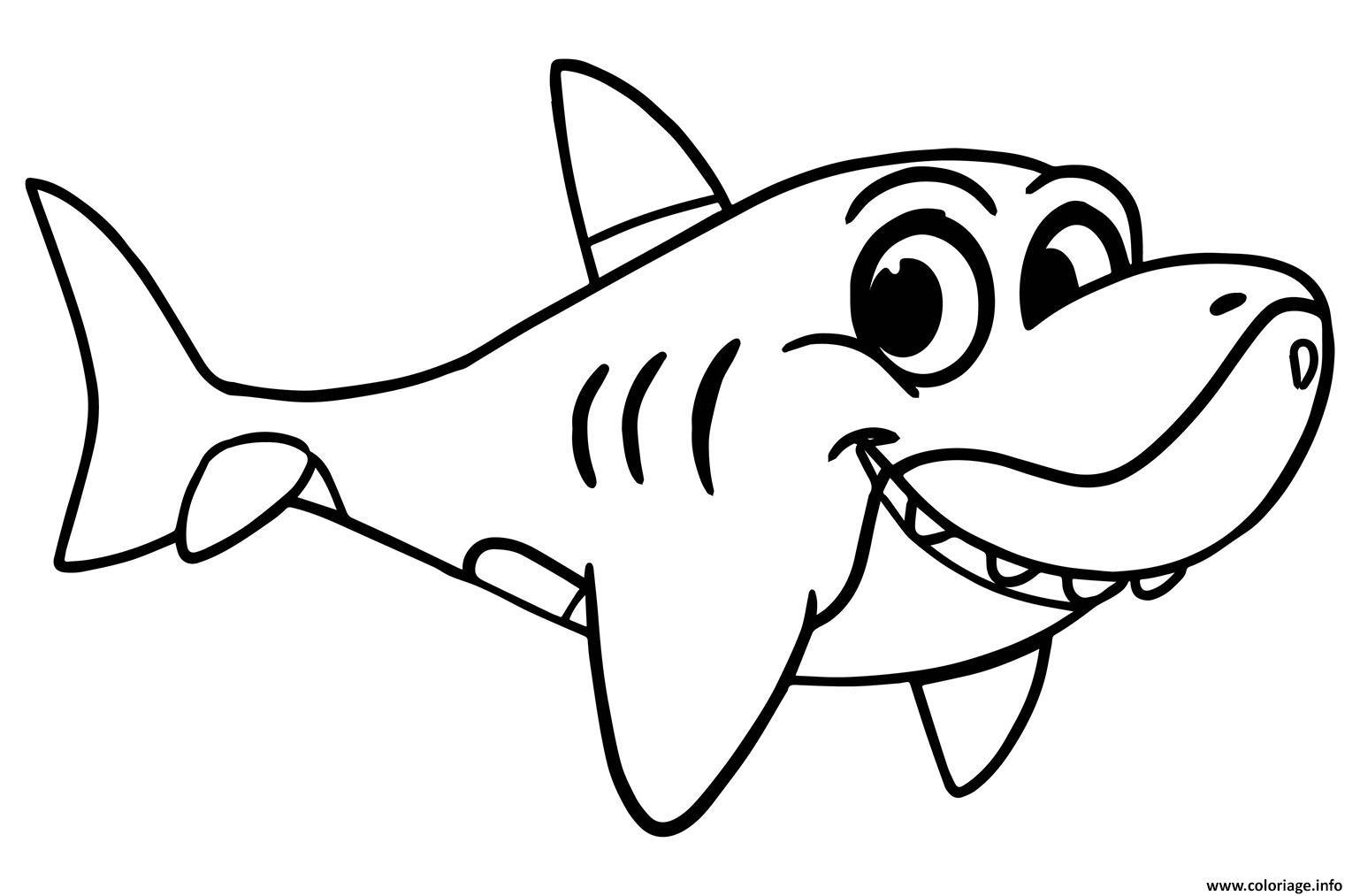 Dessin requin facile simple animal marin Coloriage Gratuit à Imprimer