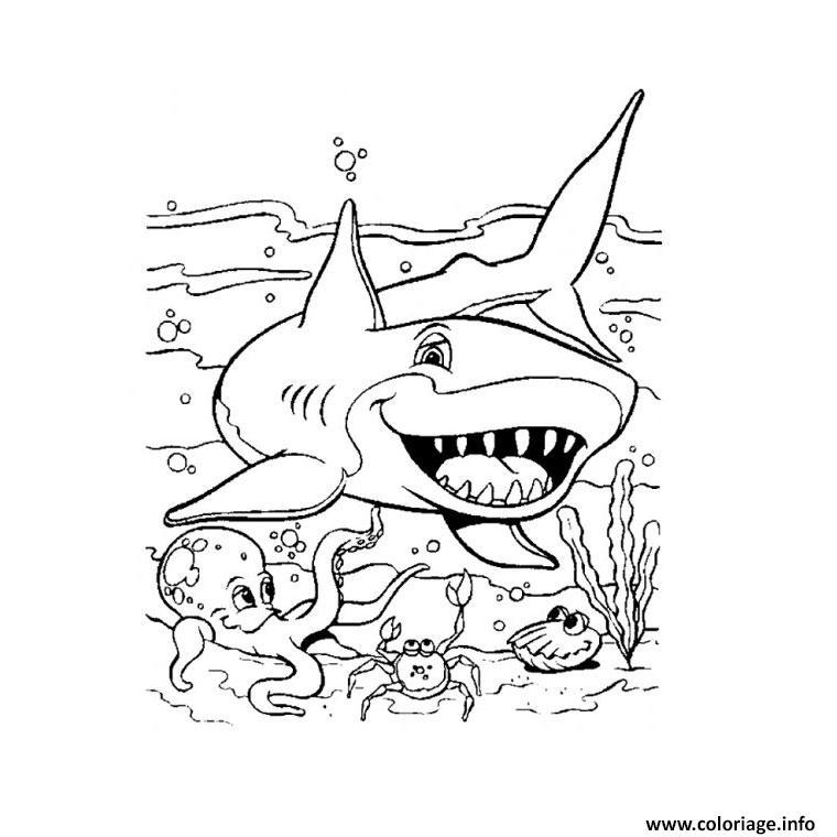 Dessin requin Coloriage Gratuit à Imprimer