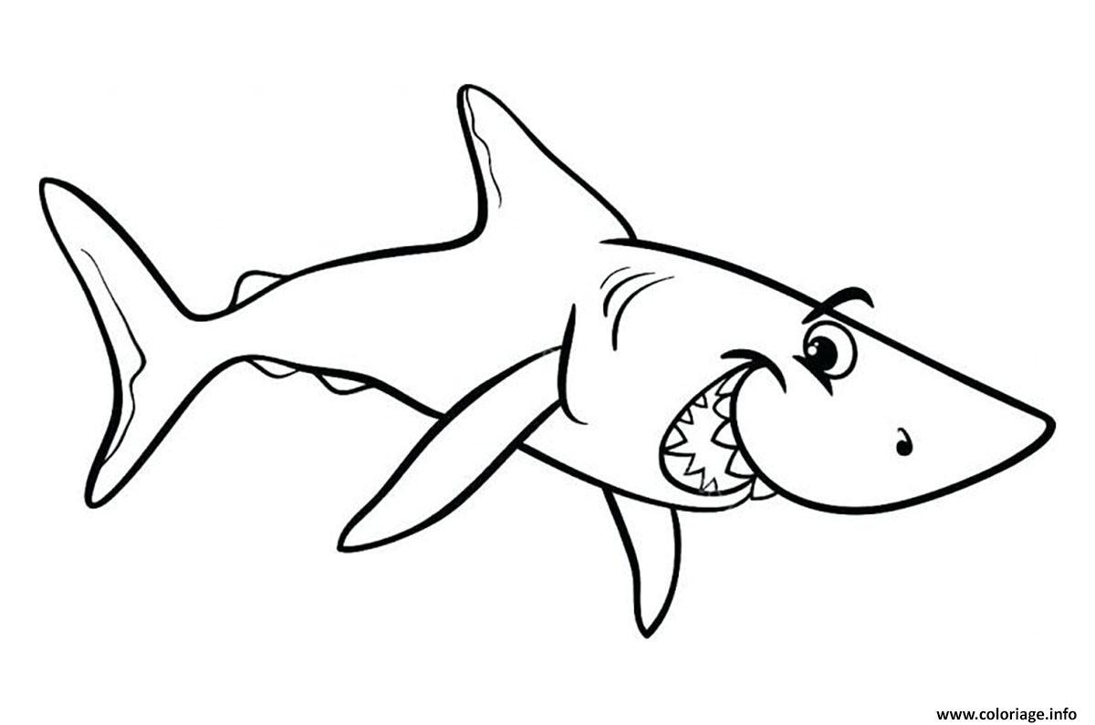 Dessin requin enfant souriant Coloriage Gratuit à Imprimer