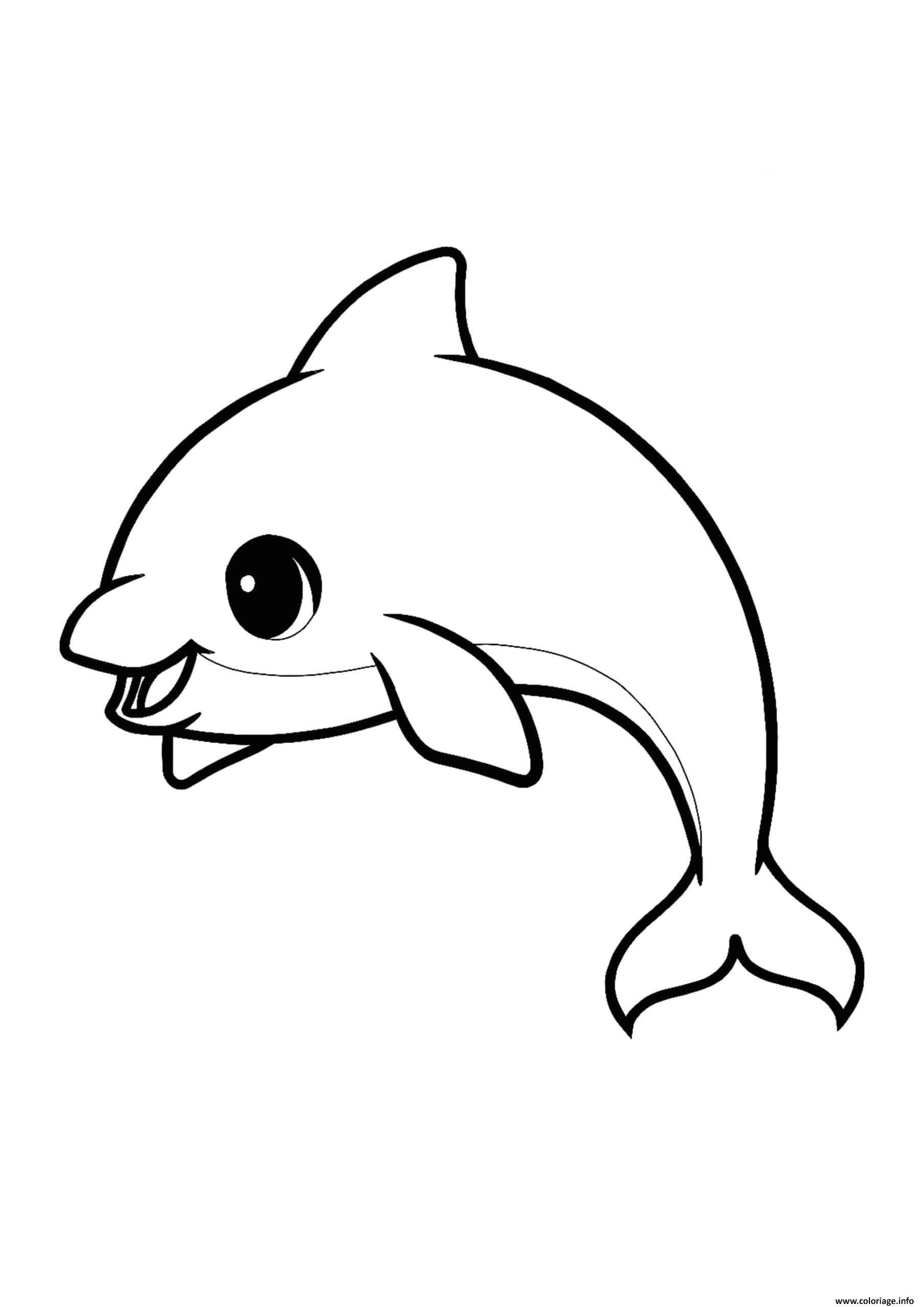Dessin dauphin kawaii adorable Coloriage Gratuit à Imprimer