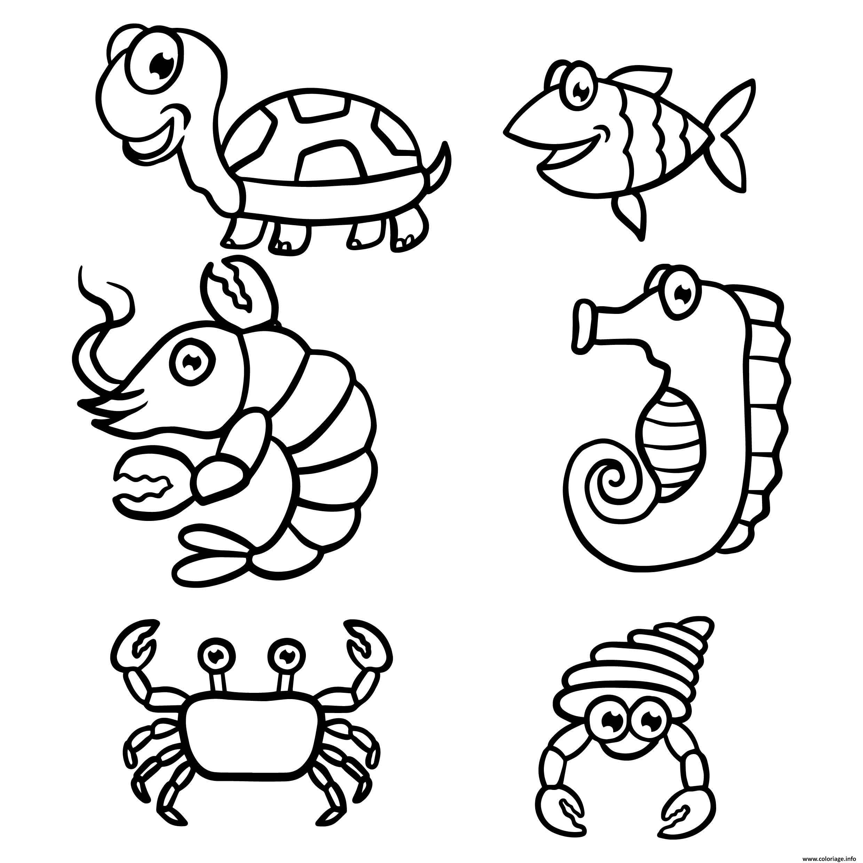 Dessin animaux de la mer et marin maternelle Coloriage Gratuit à Imprimer