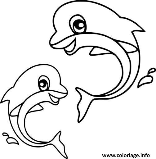 Dessin deux dauphins bebe Coloriage Gratuit à Imprimer