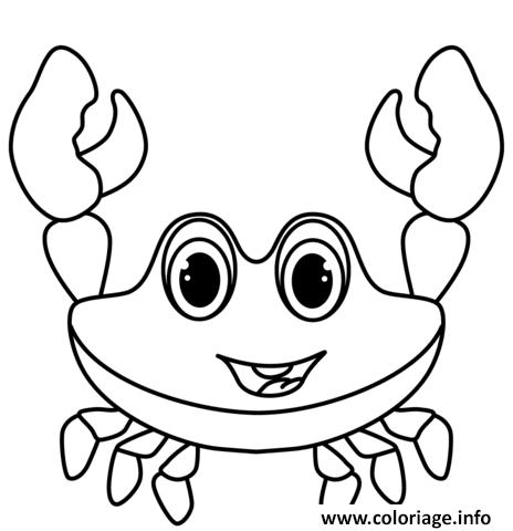 Dessin crabe joyeux maternelle Coloriage Gratuit à Imprimer