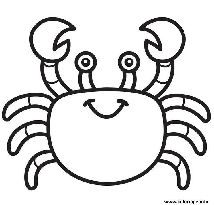 Dessin crabe facile maternelle Coloriage Gratuit à Imprimer