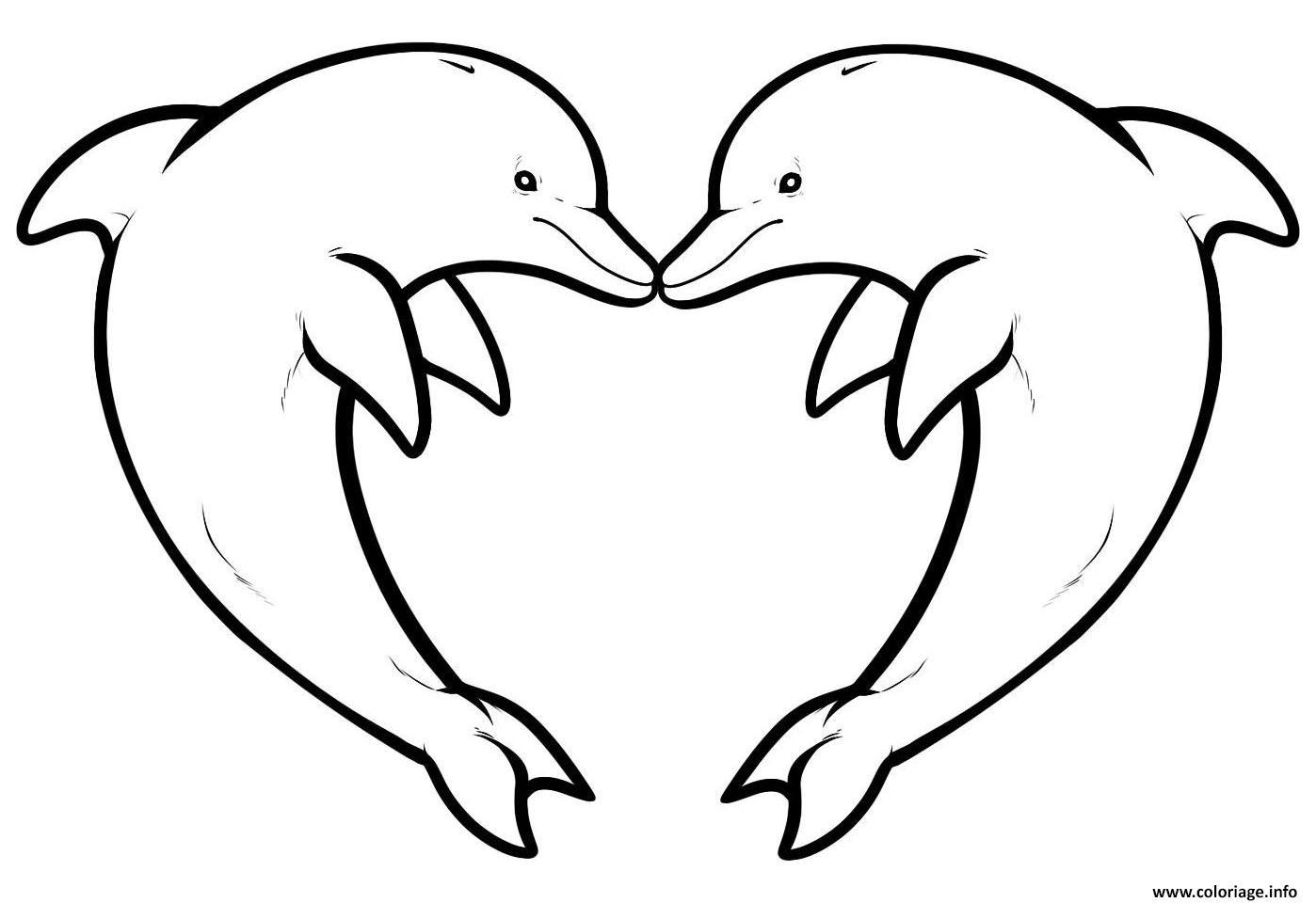 Dessin dauphin coeur Coloriage Gratuit à Imprimer