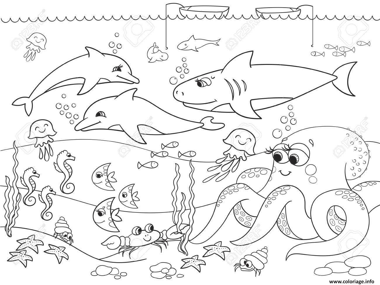 Dessin fond marin avec les animaux de la mer Coloriage Gratuit à Imprimer
