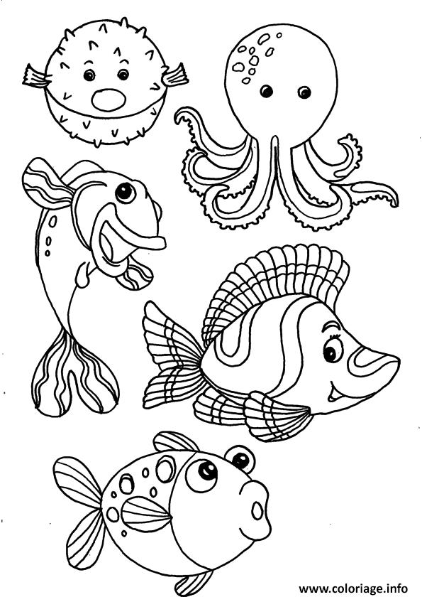 Dessin poissons animaux de la mer Coloriage Gratuit à Imprimer