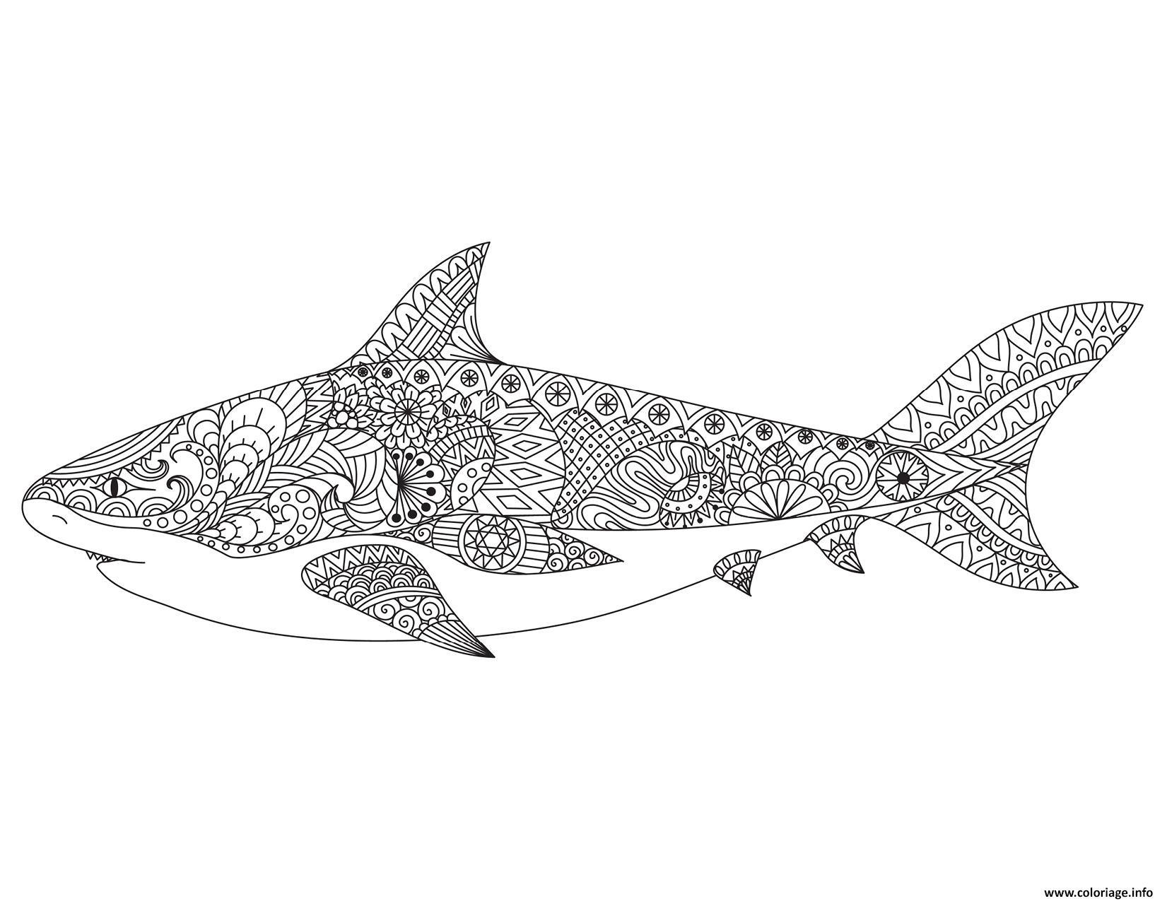 Dessin requin mandala adulte Coloriage Gratuit à Imprimer