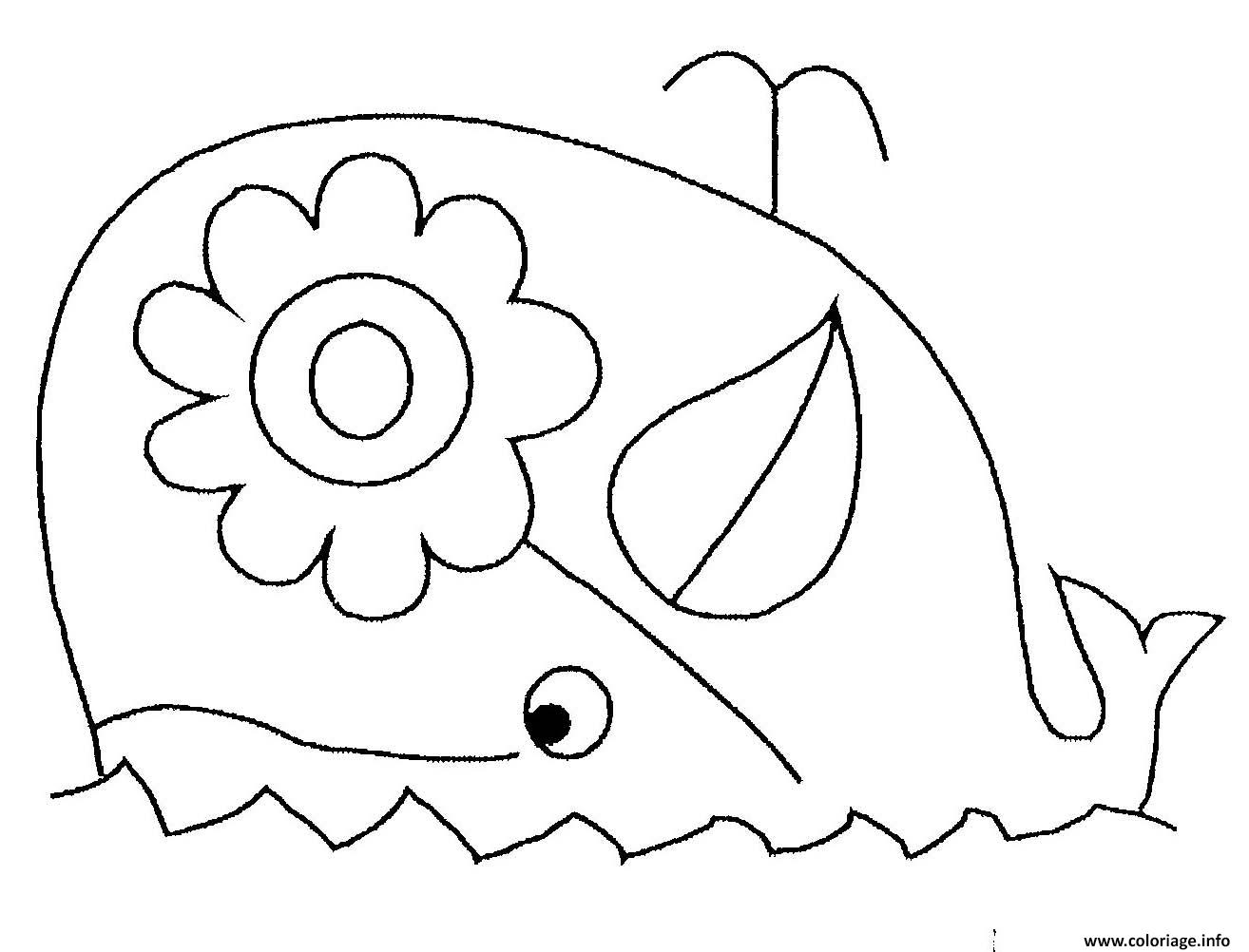 Dessin baleine avec une fleur Coloriage Gratuit à Imprimer