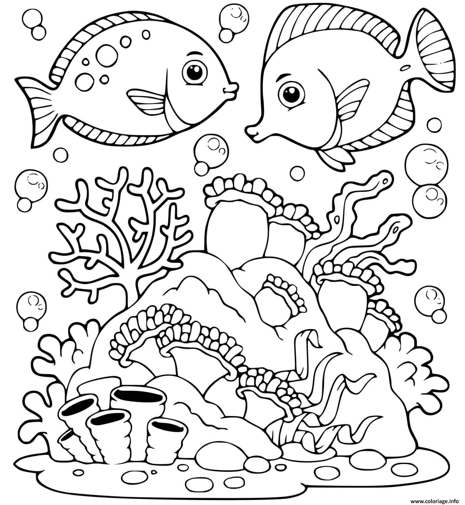 Dessin le monde marin animaux de la mer Coloriage Gratuit à Imprimer