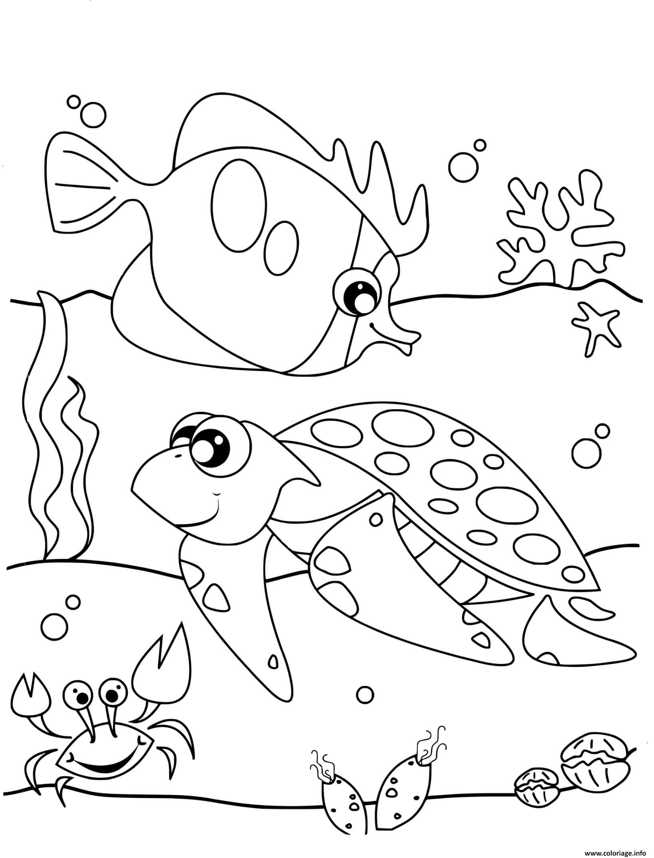 Dessin adorable animal de mer tortue Coloriage Gratuit à Imprimer