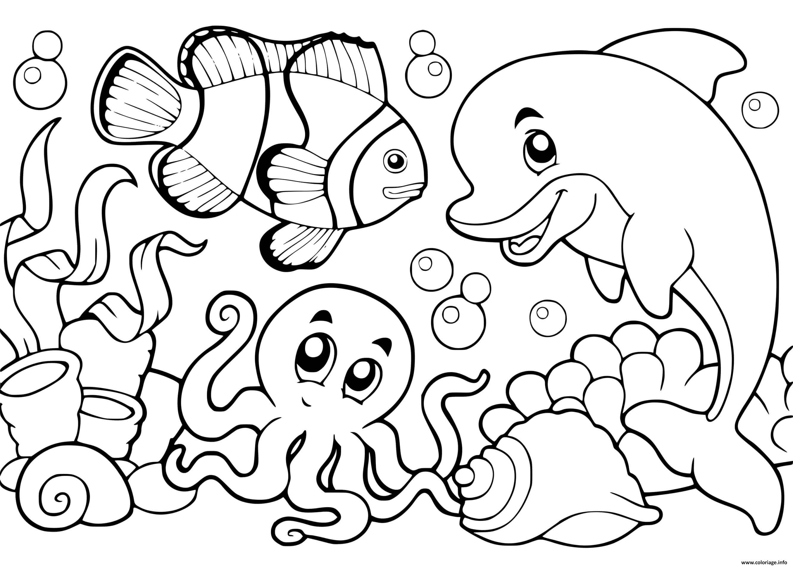 Dessin la vie sous marine ocean Coloriage Gratuit à Imprimer