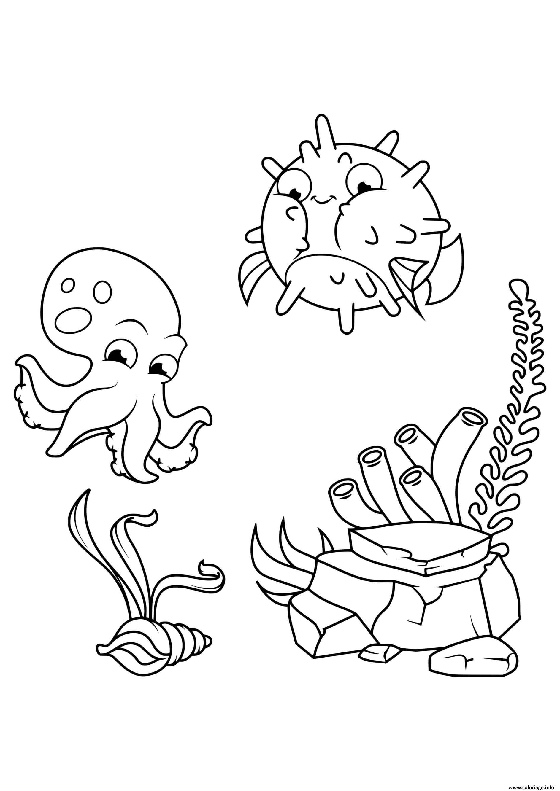 Dessin la rencontre du poisson et pieuvre Coloriage Gratuit à Imprimer
