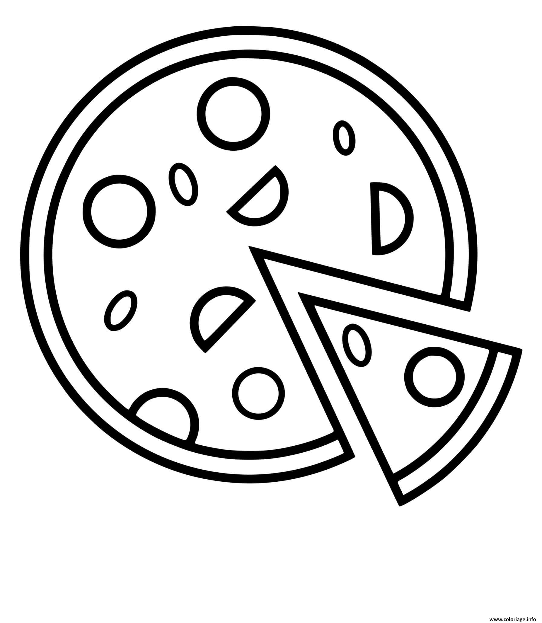Dessin pizza simple sauce tomate mozzarella Coloriage Gratuit à Imprimer