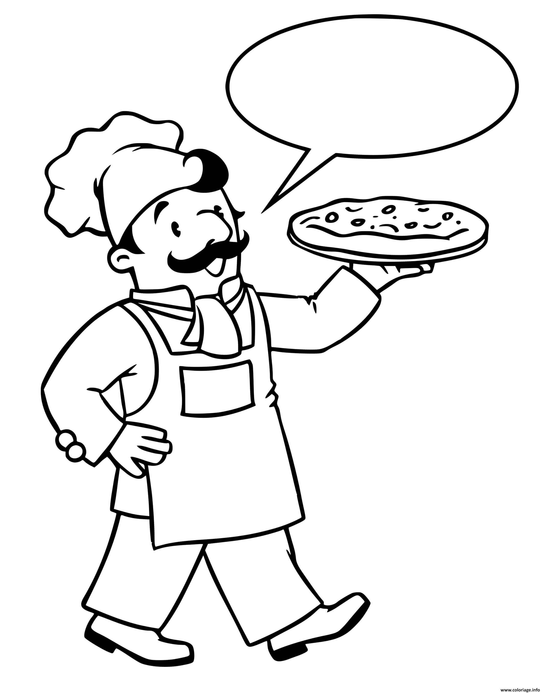 Dessin chef cuisinier pizzaiolo Coloriage Gratuit à Imprimer