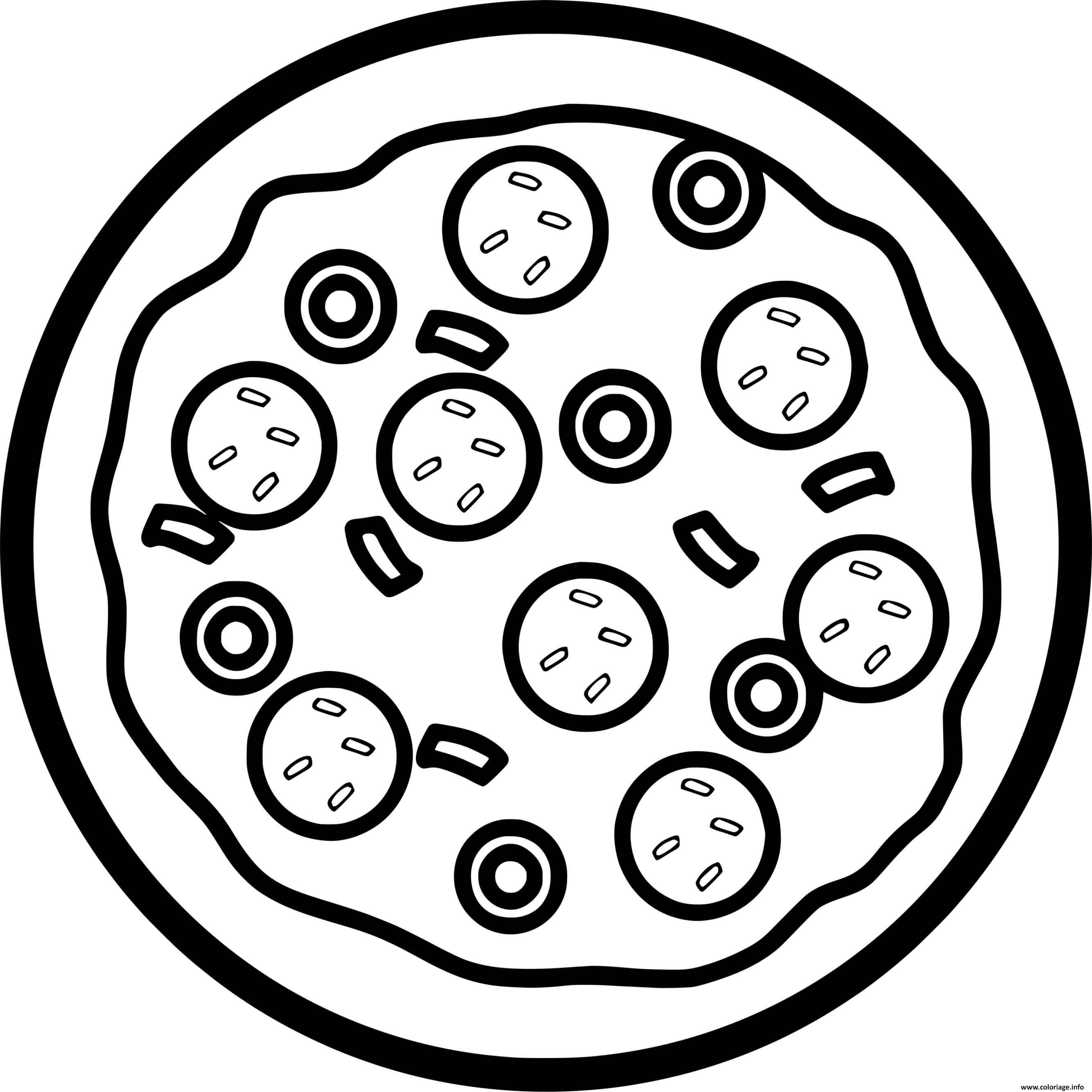 Dessin pizza pepperoni olive fromage Coloriage Gratuit à Imprimer
