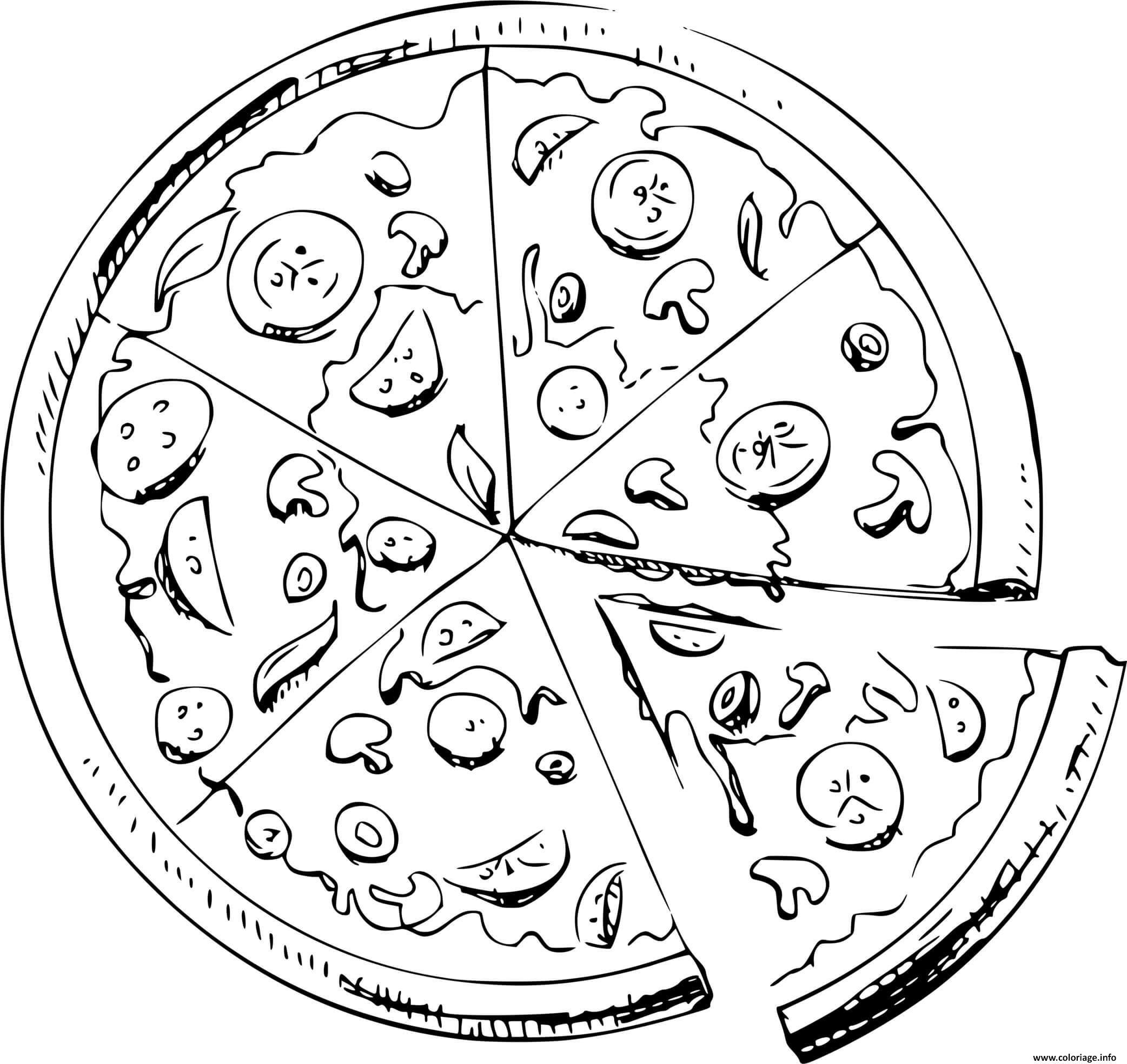 Dessin pizza reine regina tomate mozzarella jambon champignons Coloriage Gratuit à Imprimer