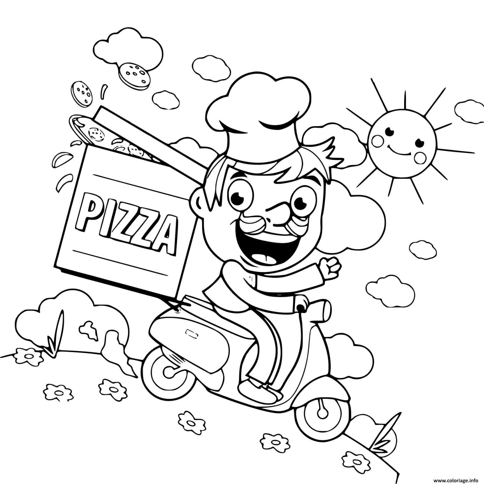 Dessin livreur de pizza Coloriage Gratuit à Imprimer