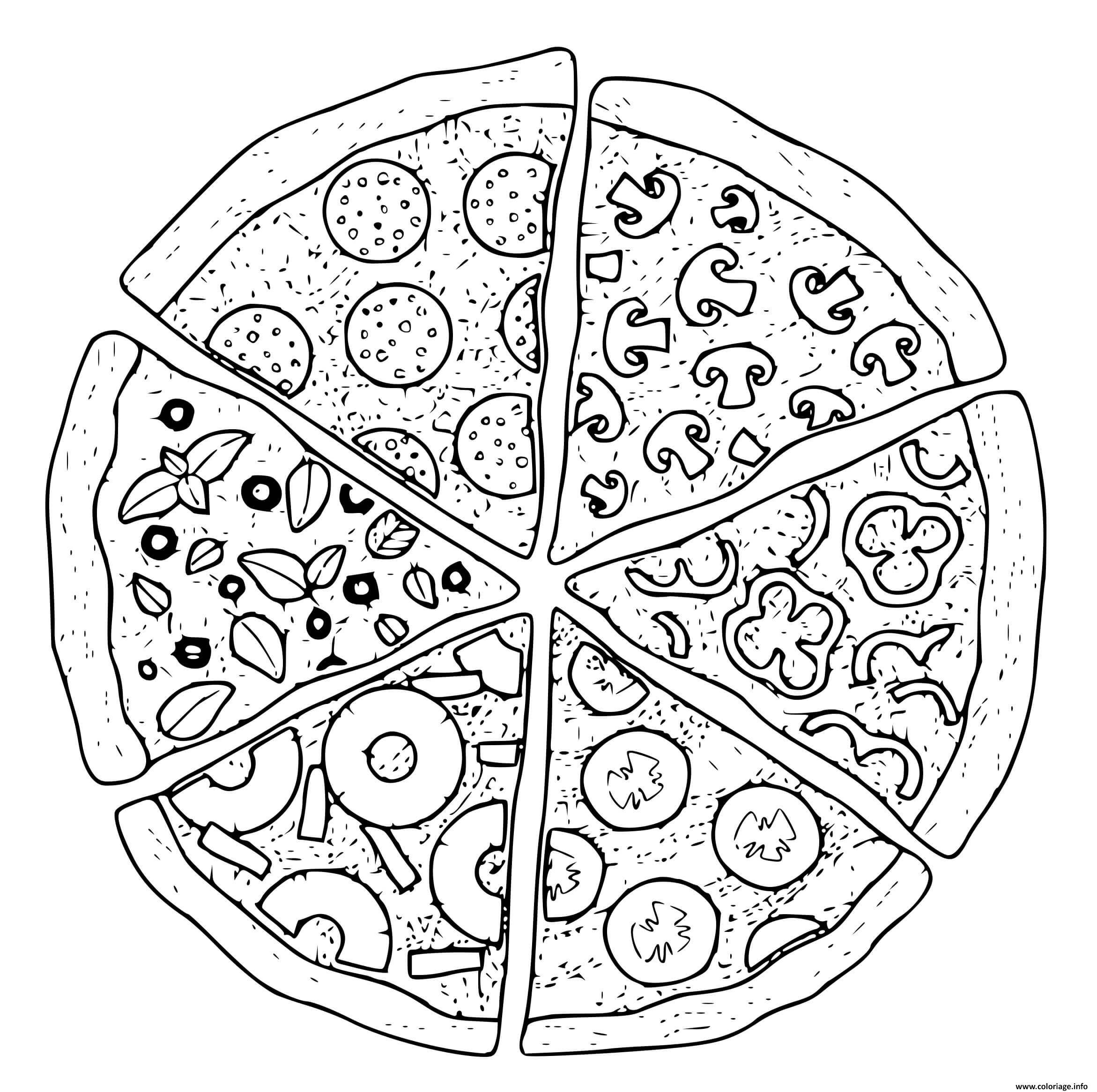 Dessin plusieurs garnitures de pizzas Coloriage Gratuit à Imprimer