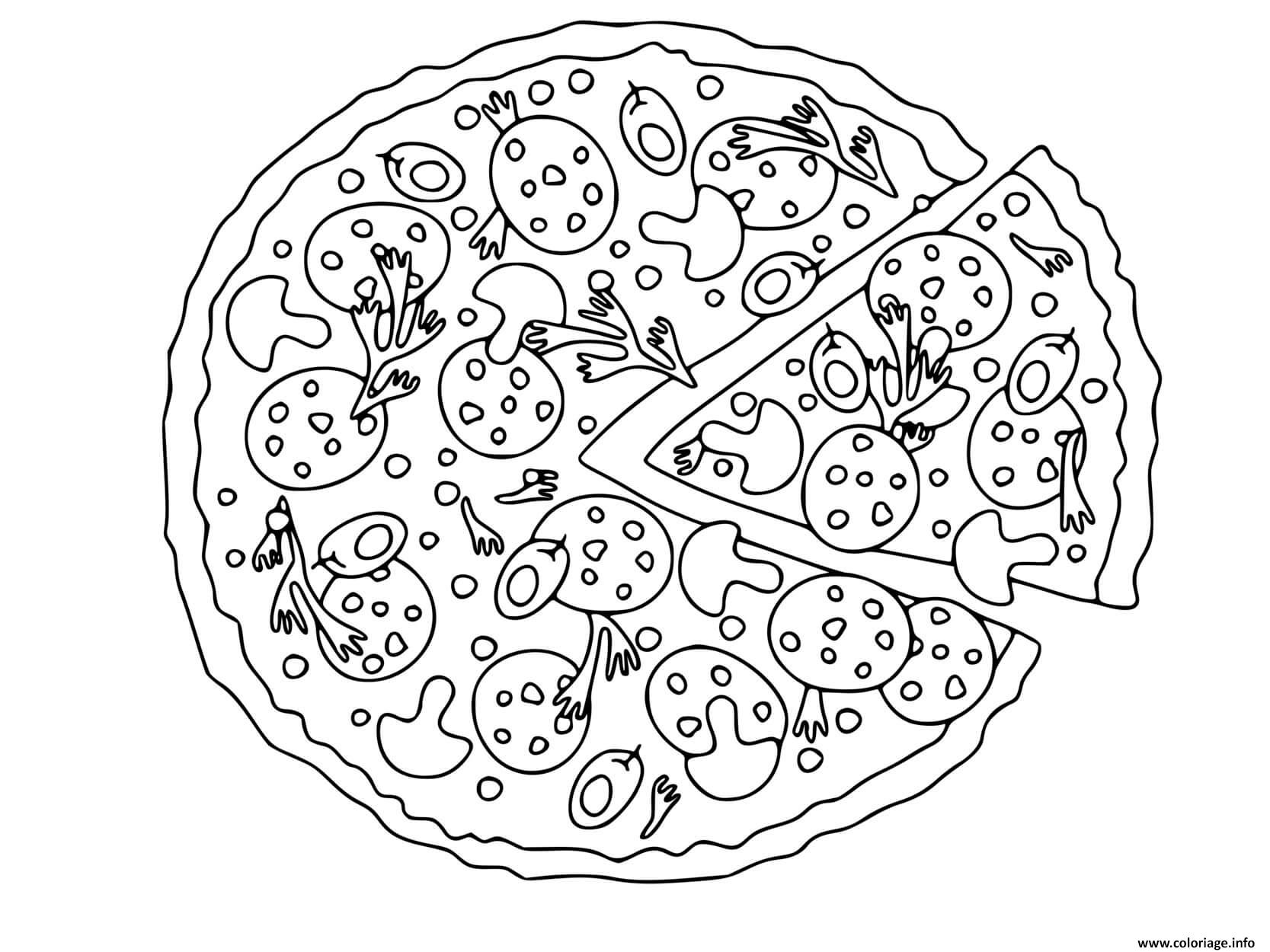 Dessin pizza napoletana Coloriage Gratuit à Imprimer