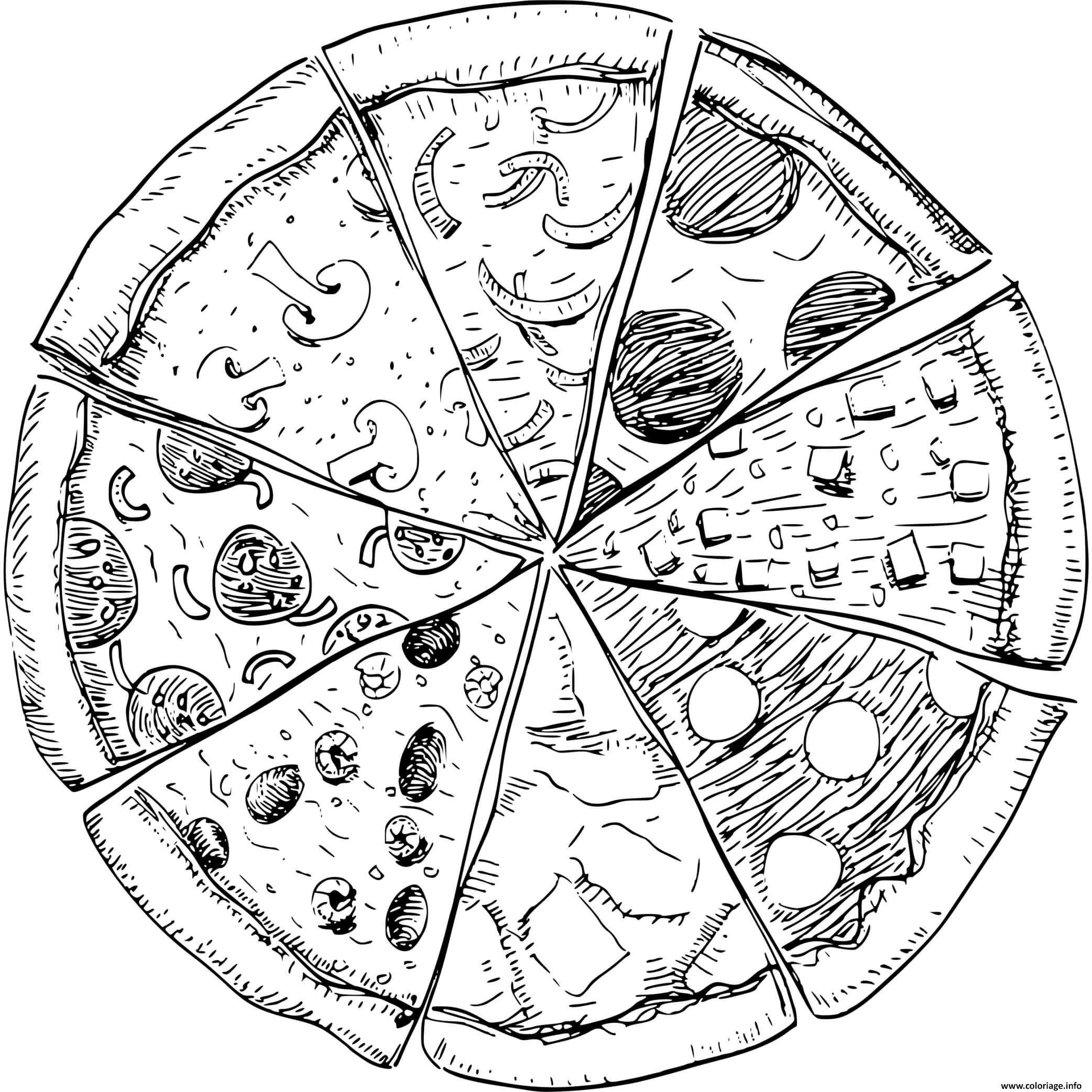 Dessin toutes les garnitures de pizza possible Coloriage Gratuit à Imprimer