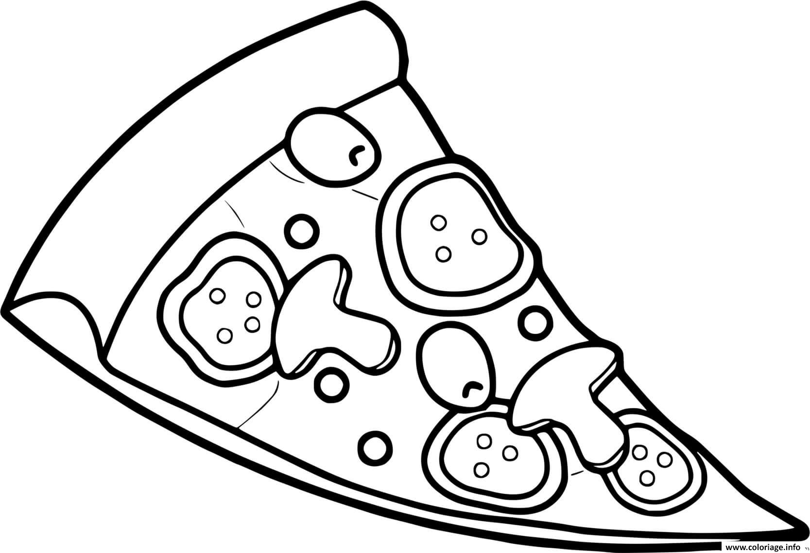 Dessin pizza tomate champignon Coloriage Gratuit à Imprimer