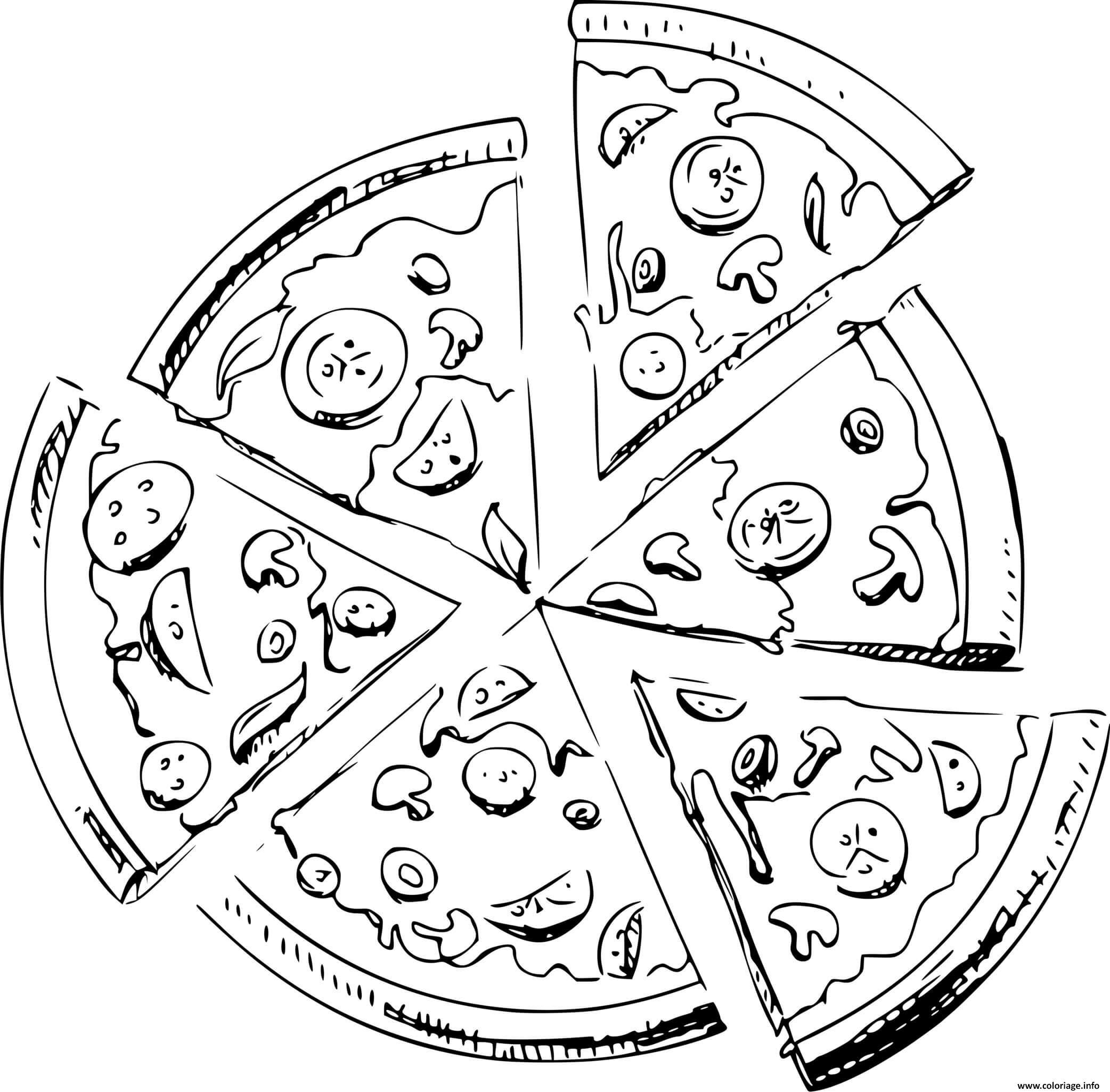 Dessin six morceaux de pizza Coloriage Gratuit à Imprimer