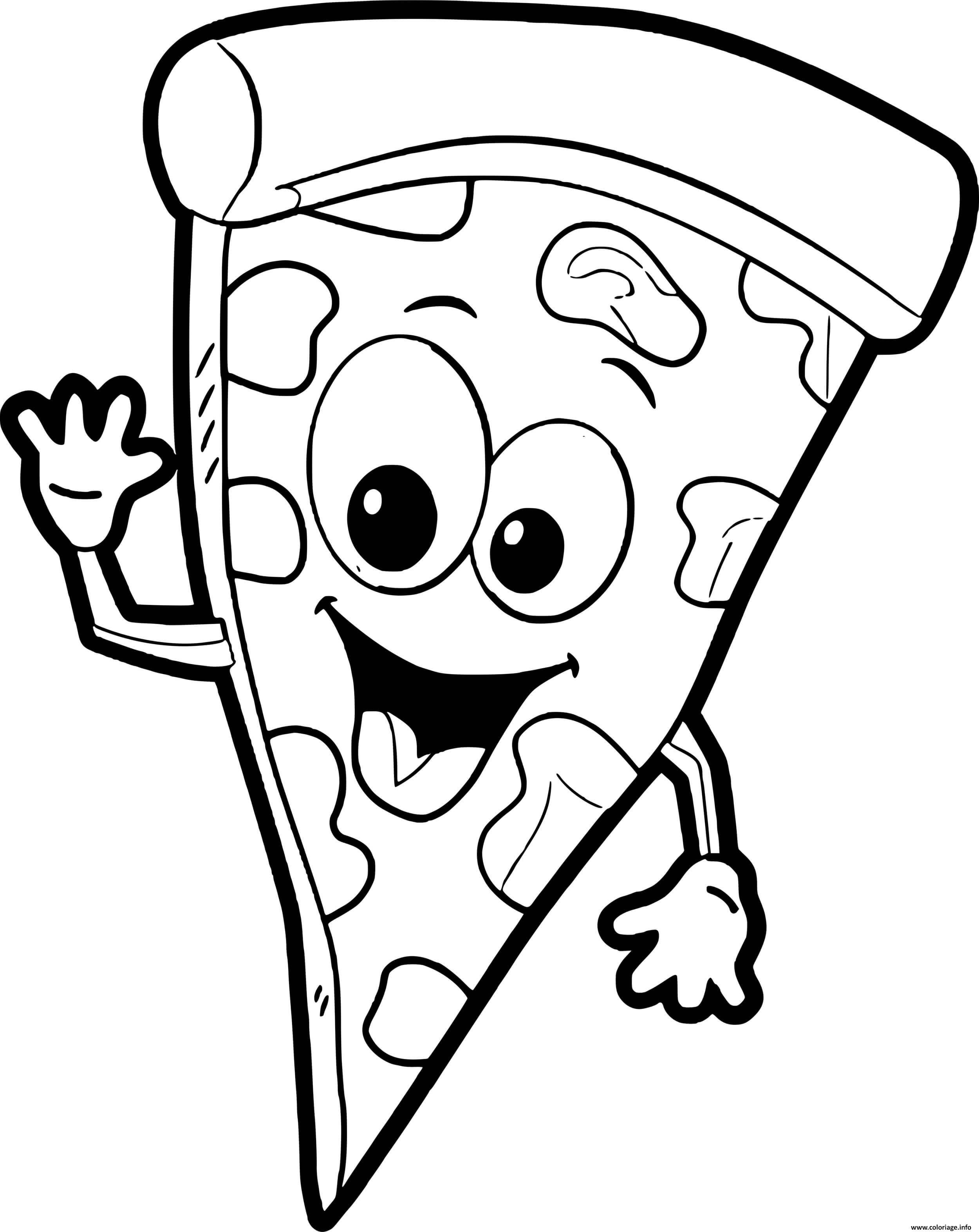Dessin pizza rigolote souriante Coloriage Gratuit à Imprimer