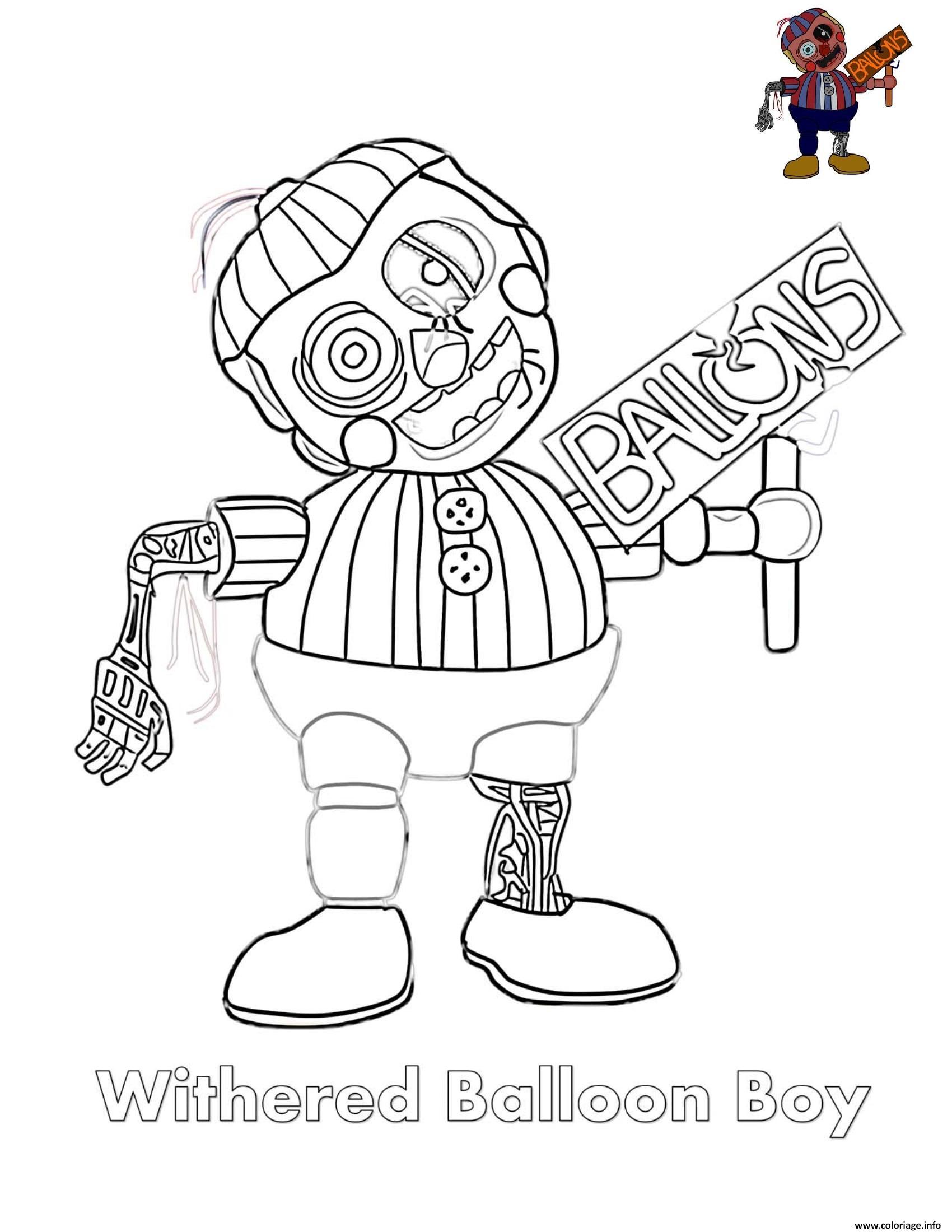Dessin Withered Balloon Boy FNAF Coloriage Gratuit à Imprimer