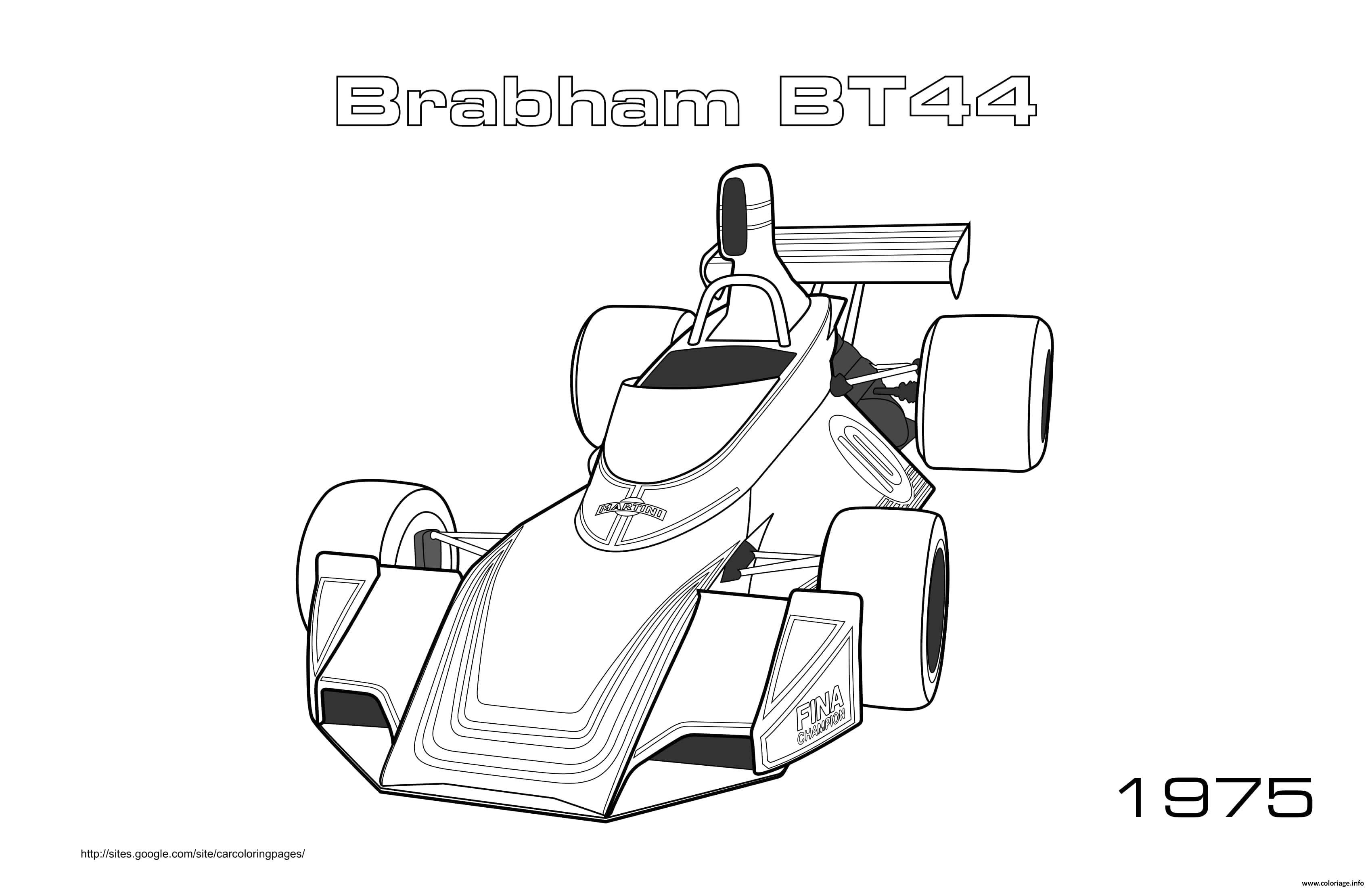Dessin Formule 1 Voiture Brabham Bt44 1975 Coloriage Gratuit à Imprimer
