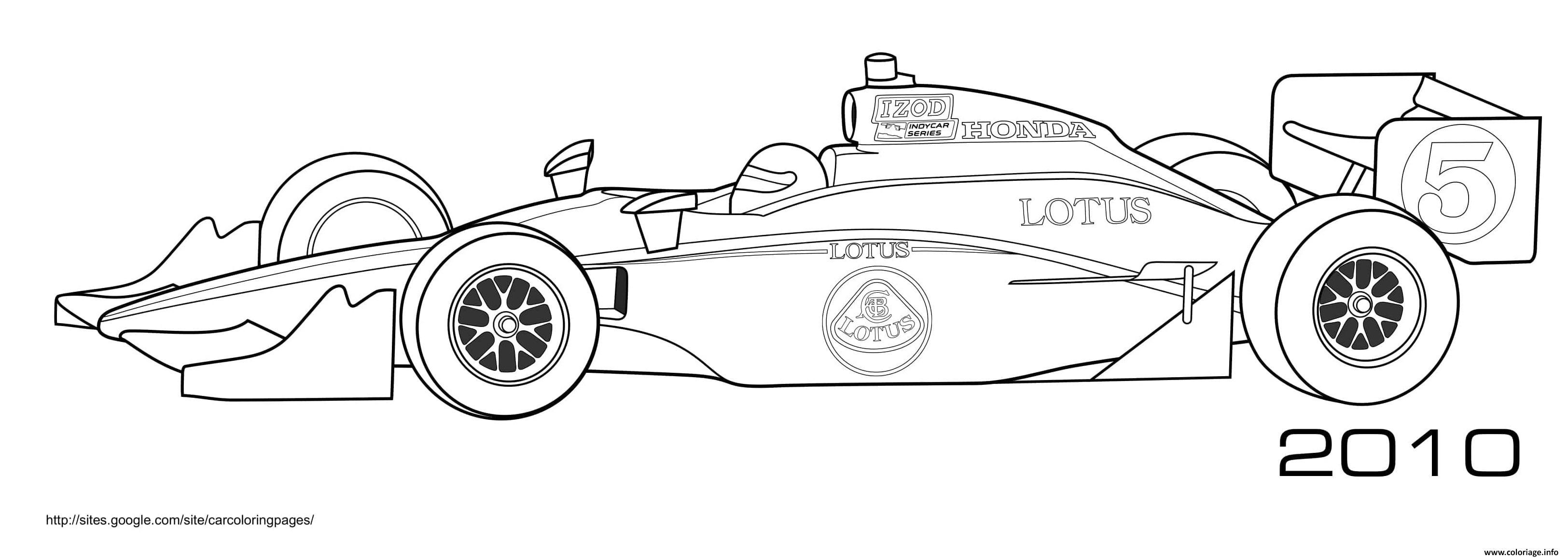 Dessin Formule 1 Voiture Honda Lotus 2010 Coloriage Gratuit à Imprimer
