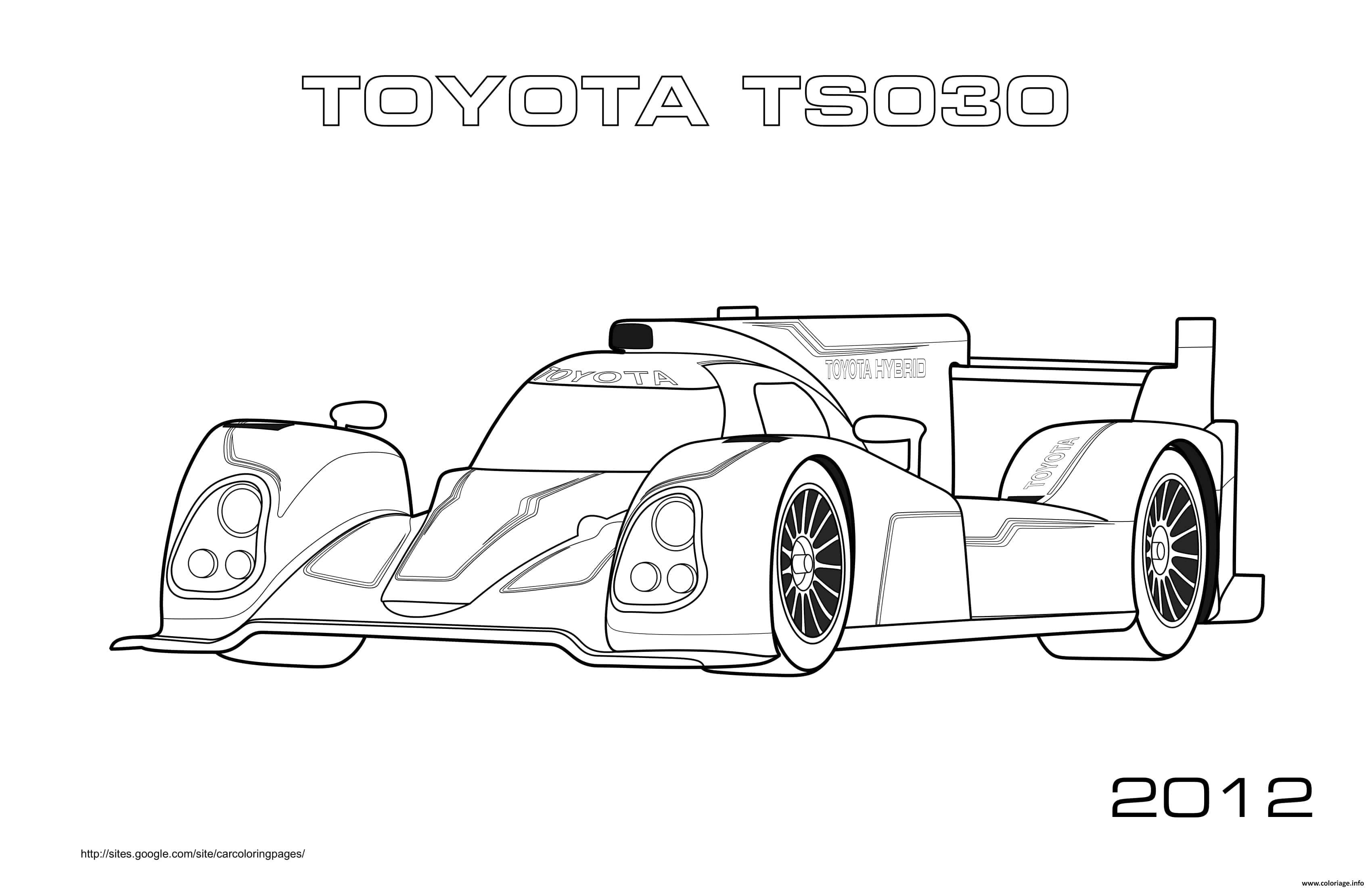 Dessin Formule 1 Voiture Toyota Ts030 2012 Coloriage Gratuit à Imprimer
