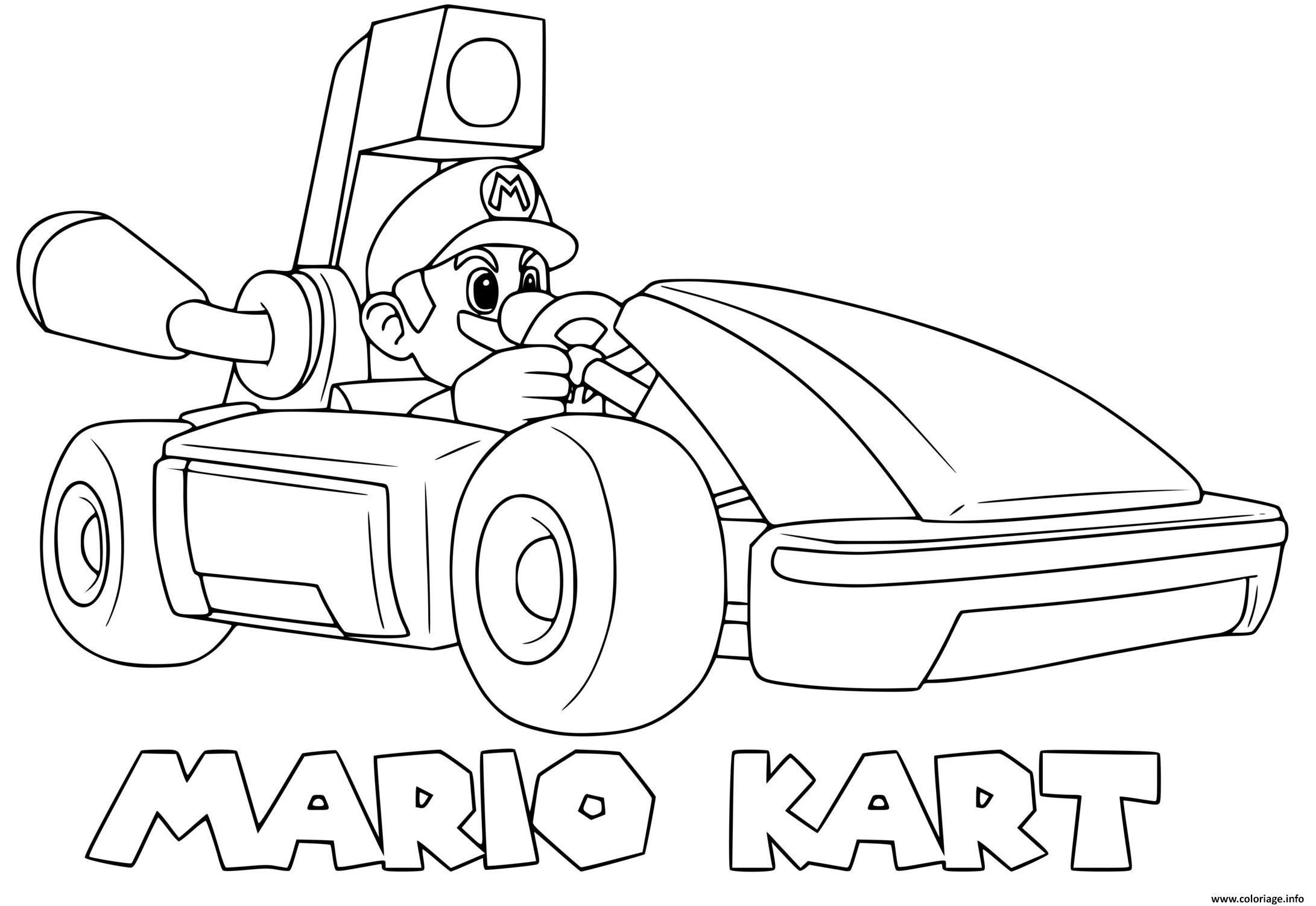 Dessin mario kart 8 deluxe mario pret pour la course formule 1 Coloriage Gratuit à Imprimer