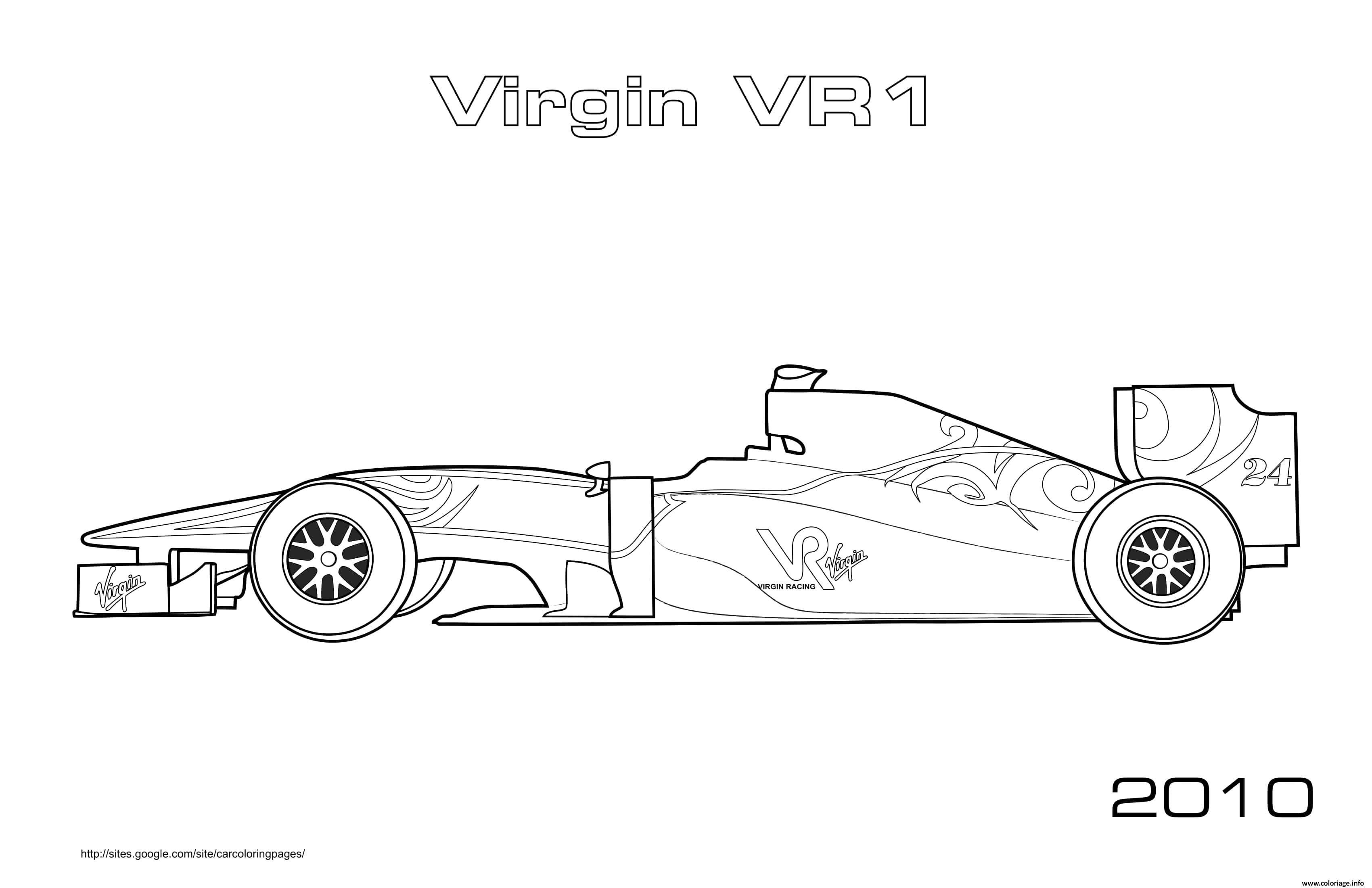 Dessin Formule 1 Voiture Virgin Vr1 2010 Coloriage Gratuit à Imprimer