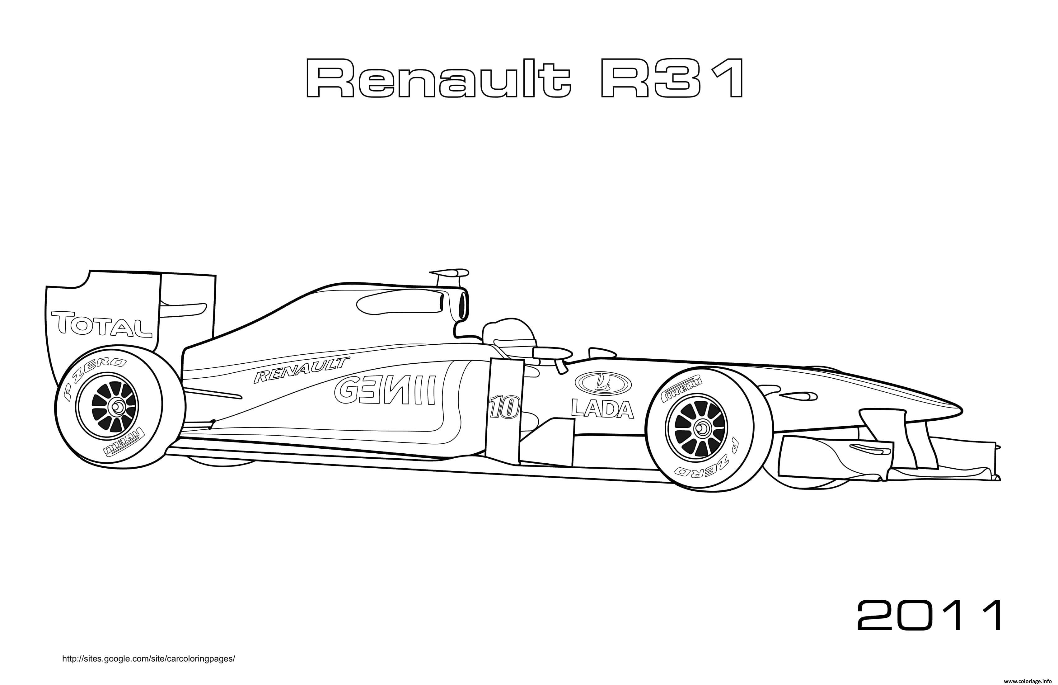 Dessin Formule 1 Voiture Renault R31 2011 Coloriage Gratuit à Imprimer