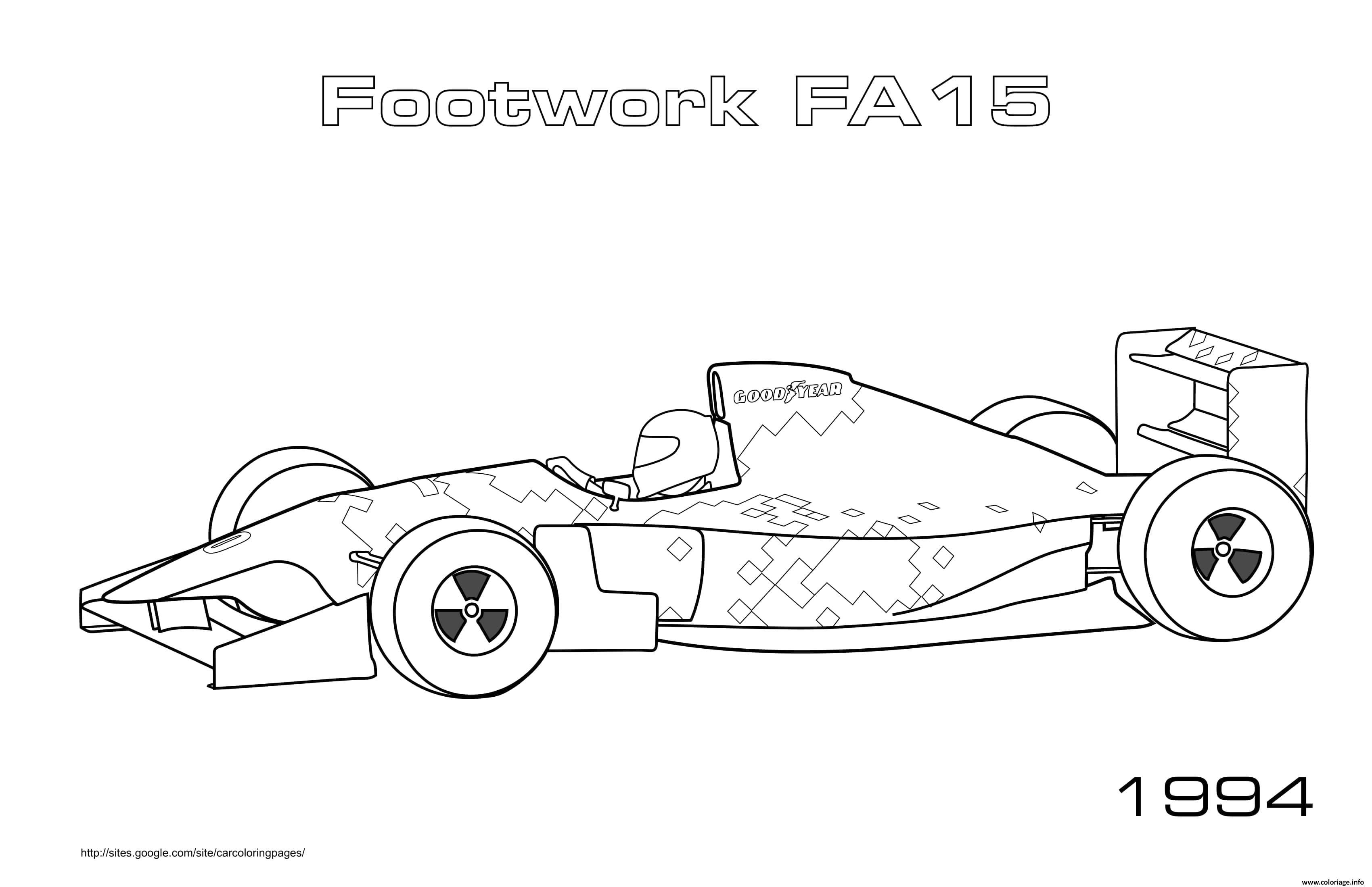 Dessin Formule 1 Footwork Fa15 1994 Coloriage Gratuit à Imprimer
