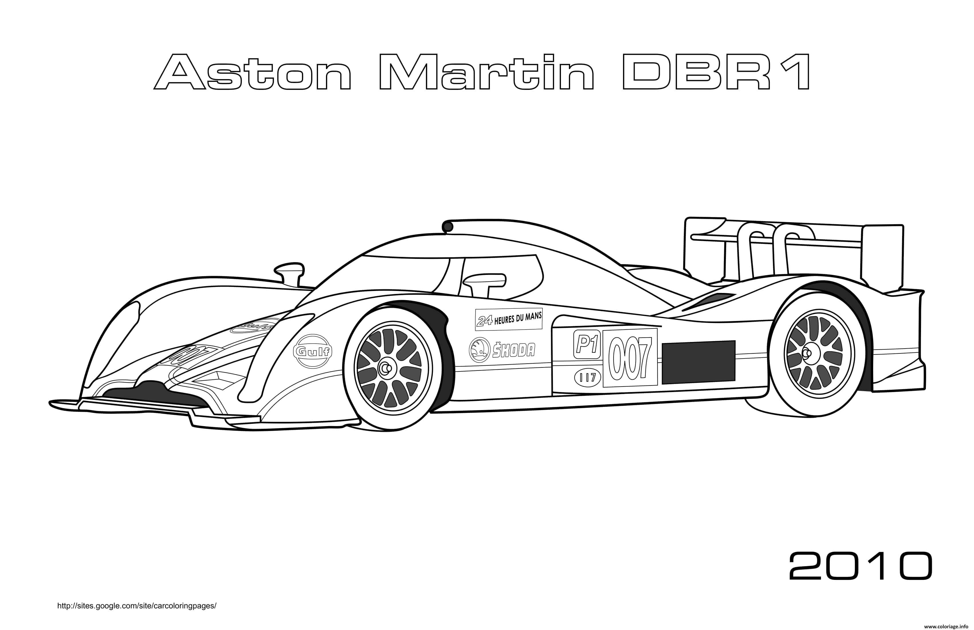 Dessin Formule 1 Voiture Aston Martin Dbr1 2010 Coloriage Gratuit à Imprimer
