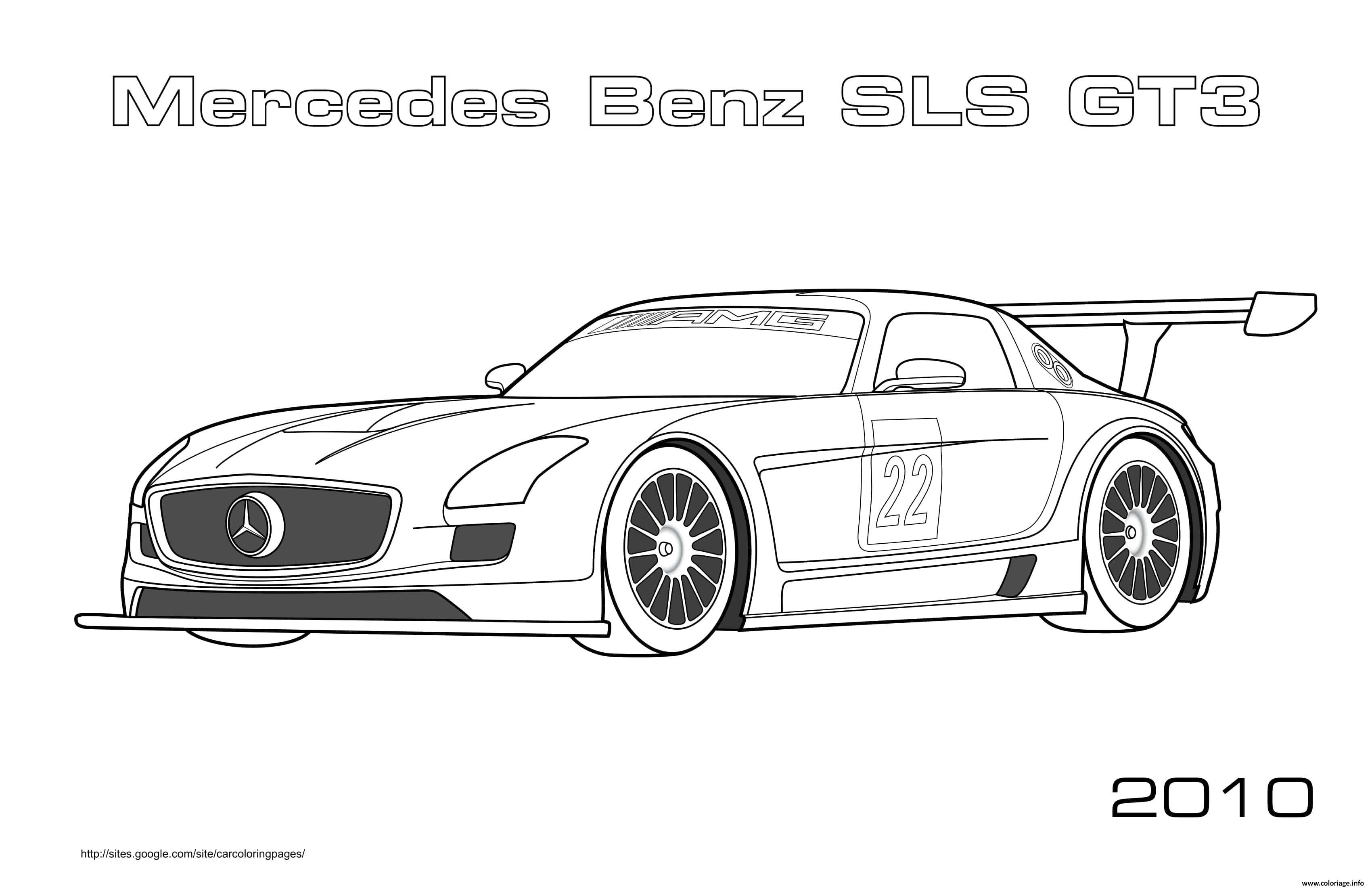 Dessin Formule 1 Mercedes Benz SLS GT3 Voiture de Course Coloriage Gratuit à Imprimer