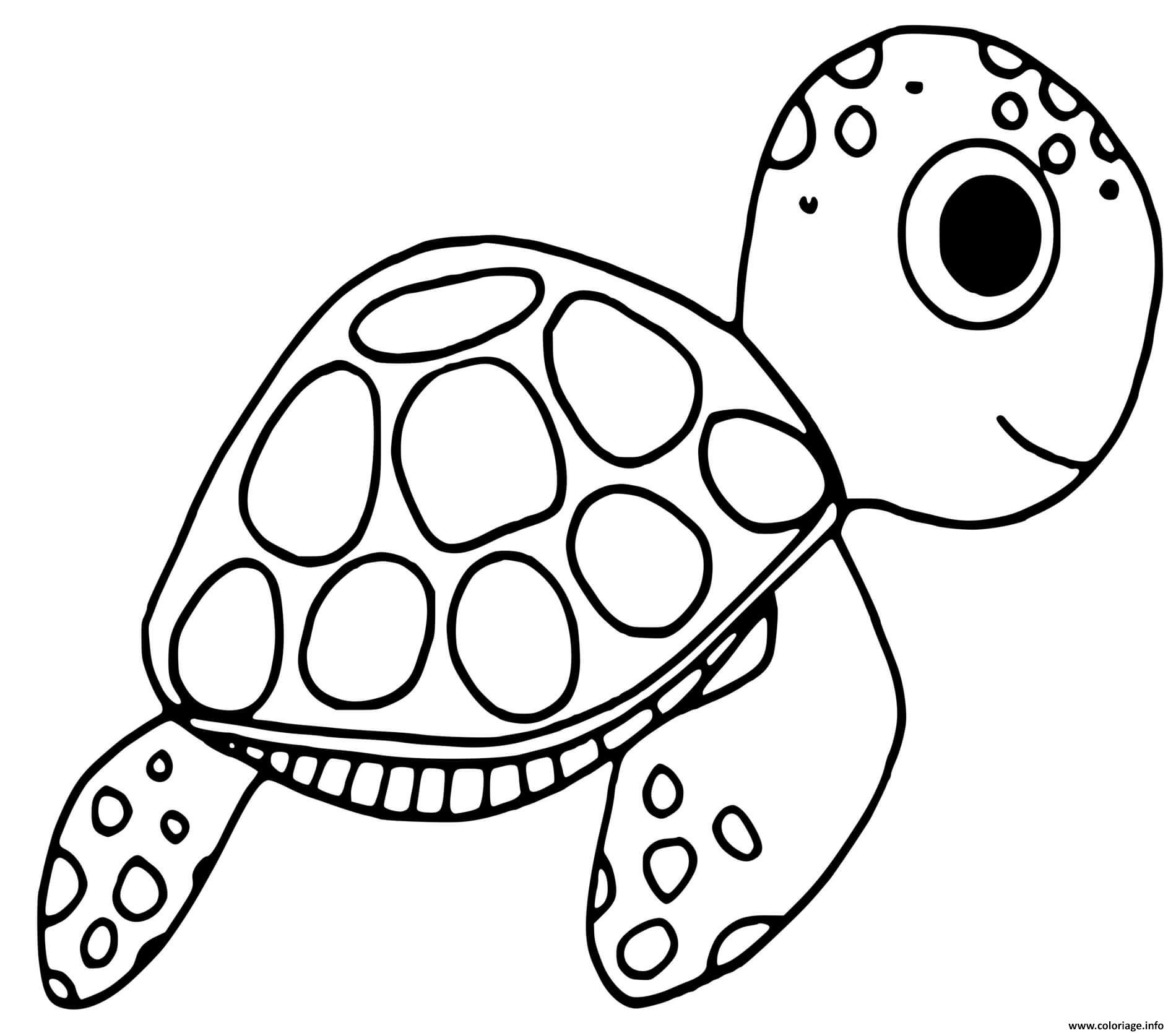 Dessin tortue adorable sous la mer Coloriage Gratuit à Imprimer