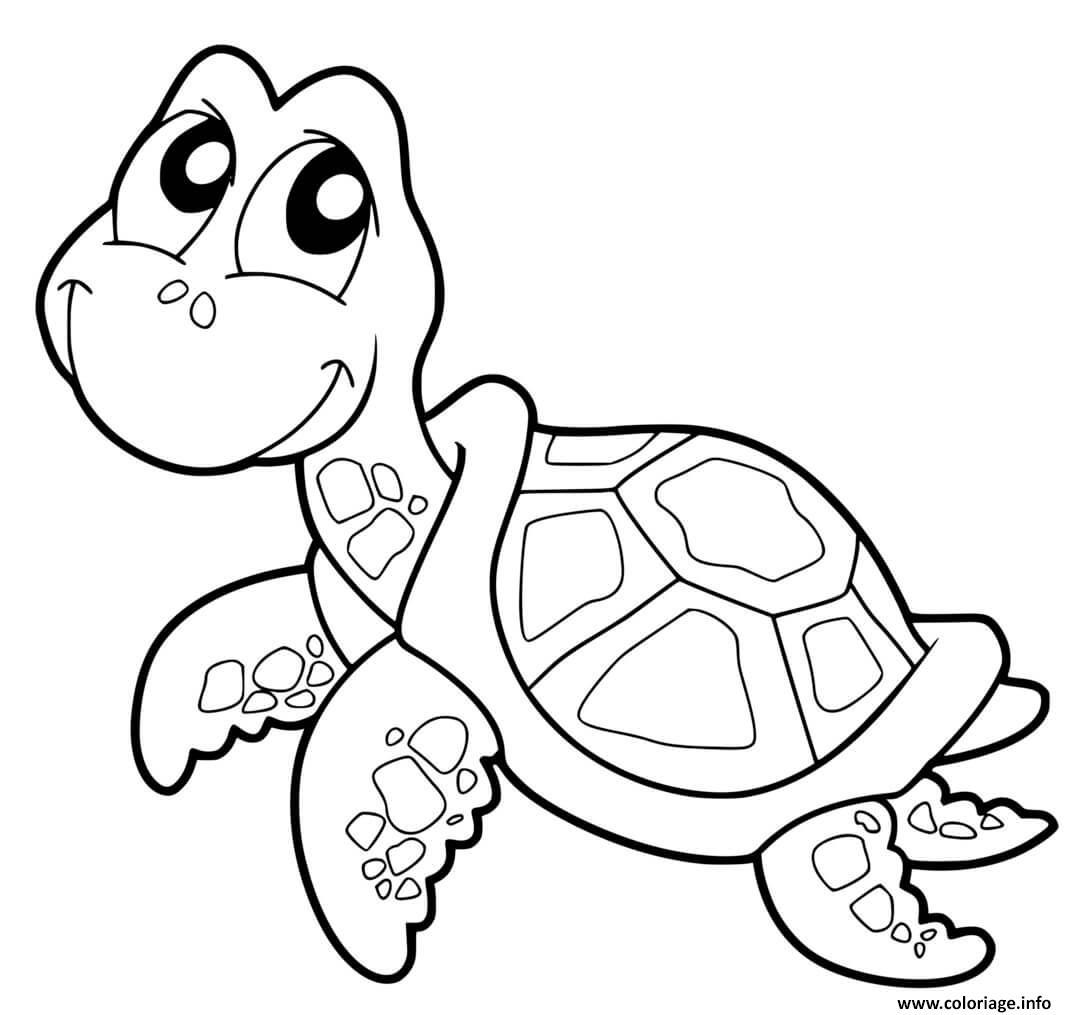 Dessin tortue facile avec carapace Coloriage Gratuit à Imprimer