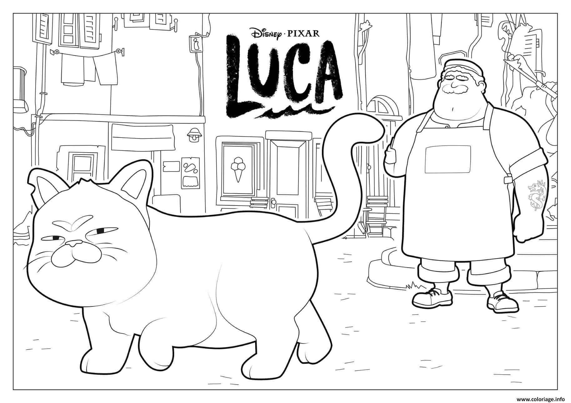 Dessin le chat du film de luca disney Coloriage Gratuit à Imprimer
