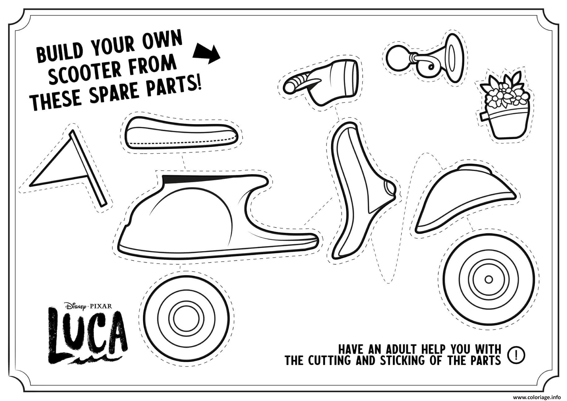 Dessin construire sa propre moto bricolage Coloriage Gratuit à Imprimer