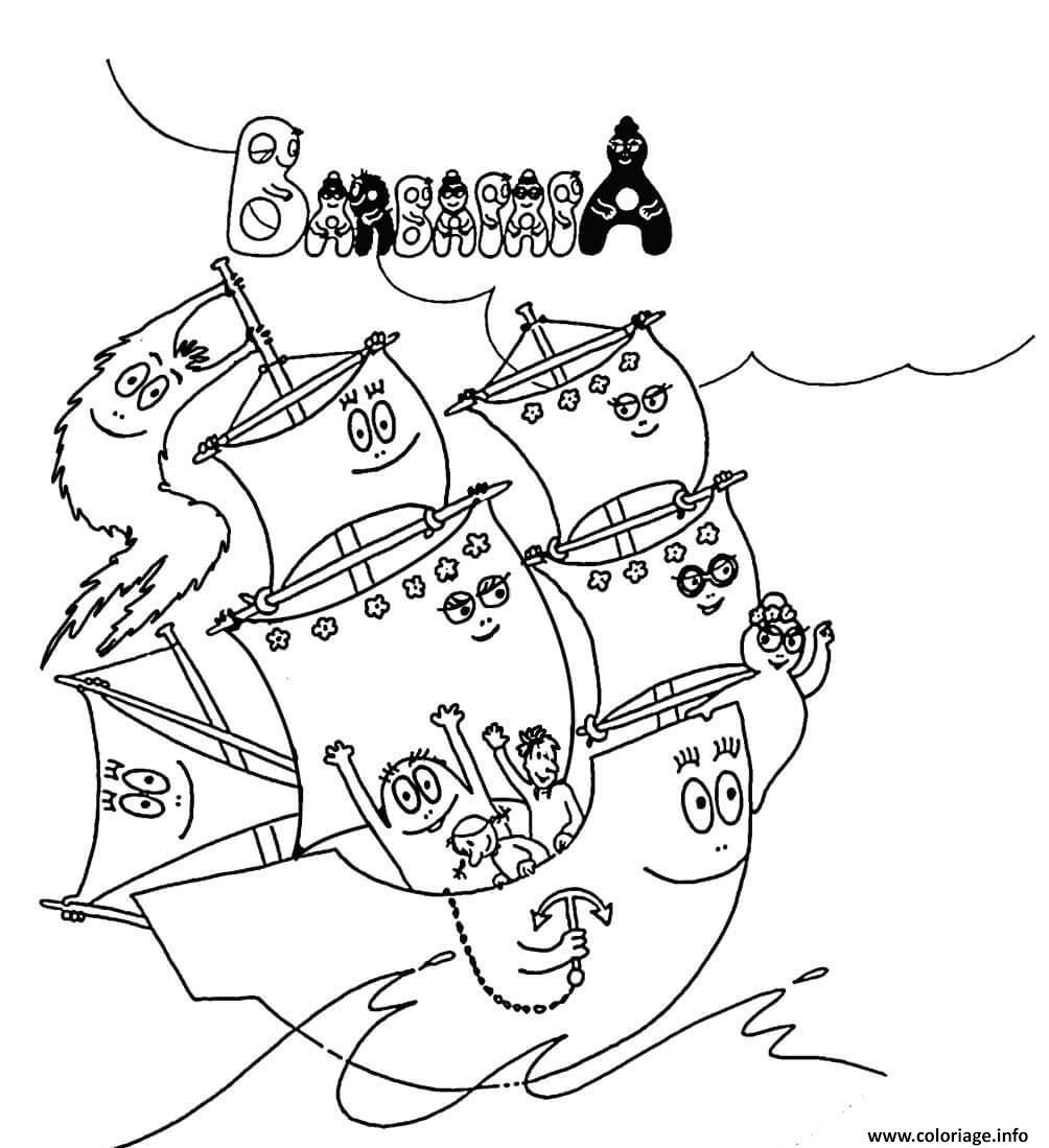 Dessin bateau sur la mer barbapapa Coloriage Gratuit à Imprimer