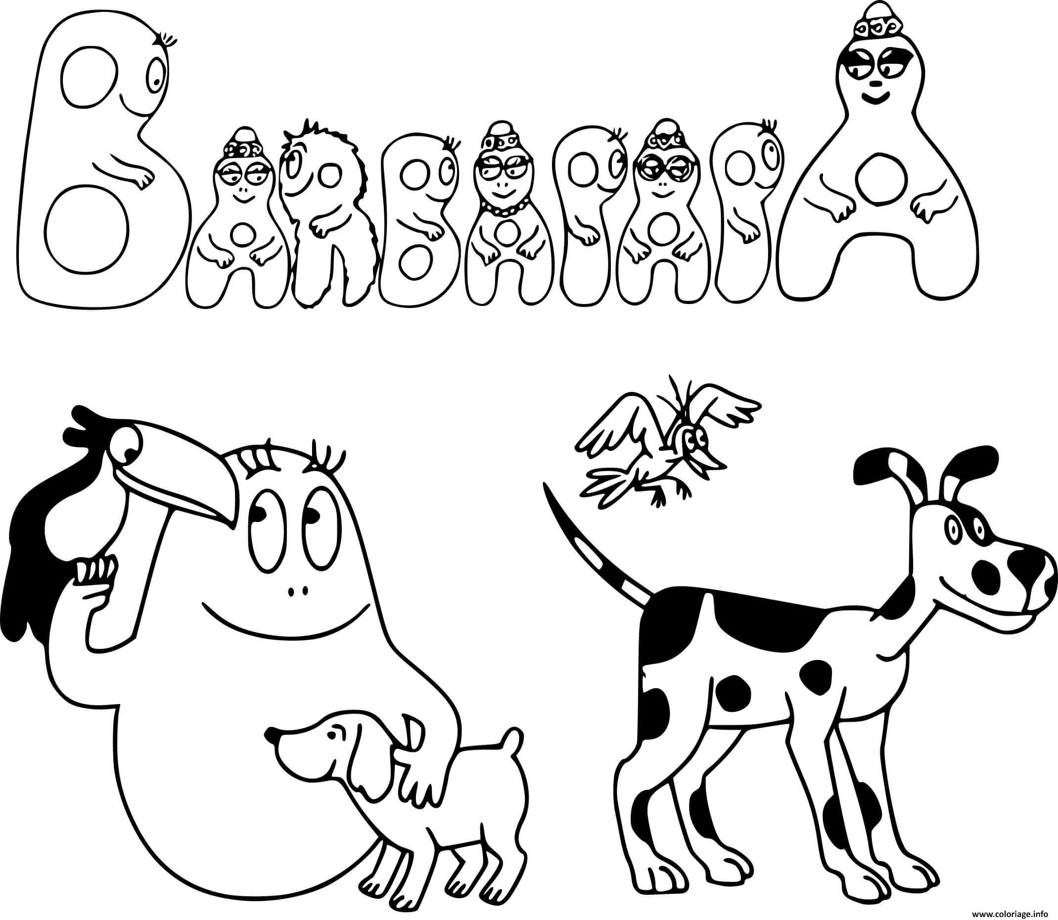 Dessin barbapapa et les animaux Coloriage Gratuit à Imprimer
