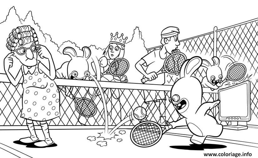 Dessin lapins cretins jouent au tennis Coloriage Gratuit à Imprimer